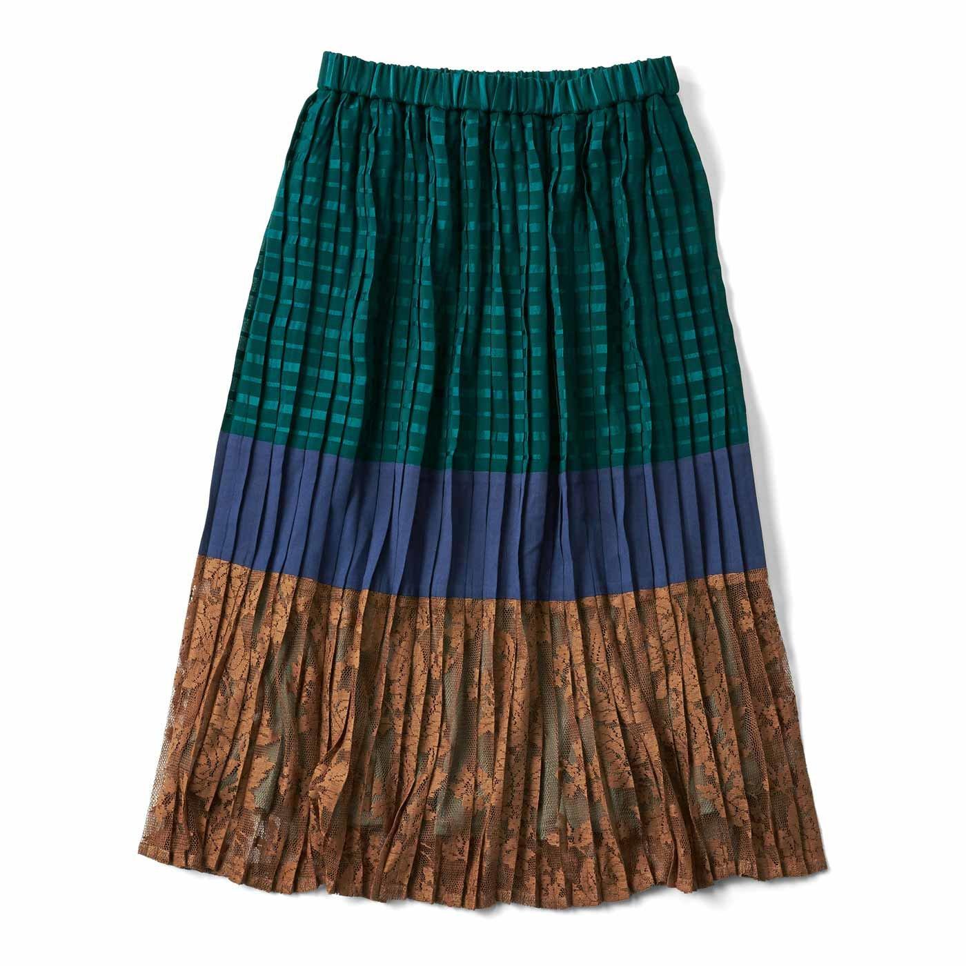 配色でおしゃれさん プリーツスカート〈グリーンボーダー〉