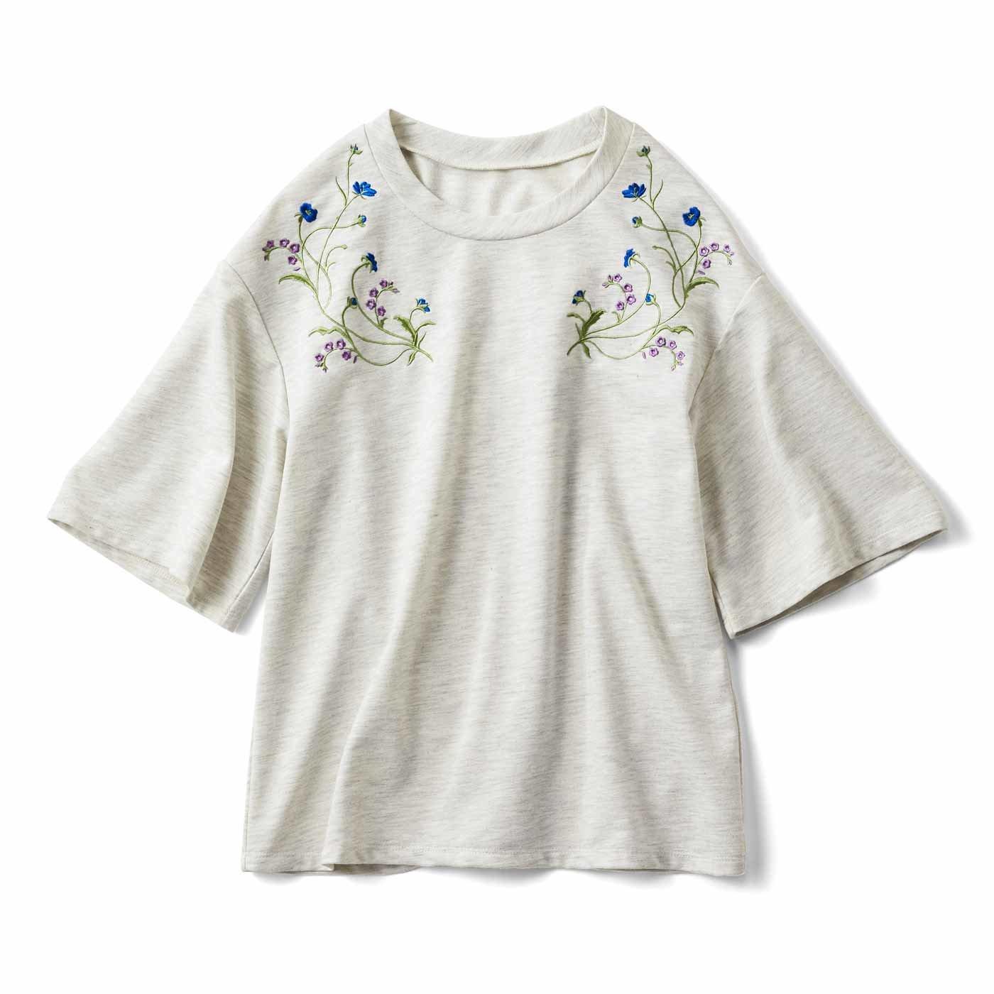 可憐なお花の刺しゅう入りTシャツ〈ライトグレー〉