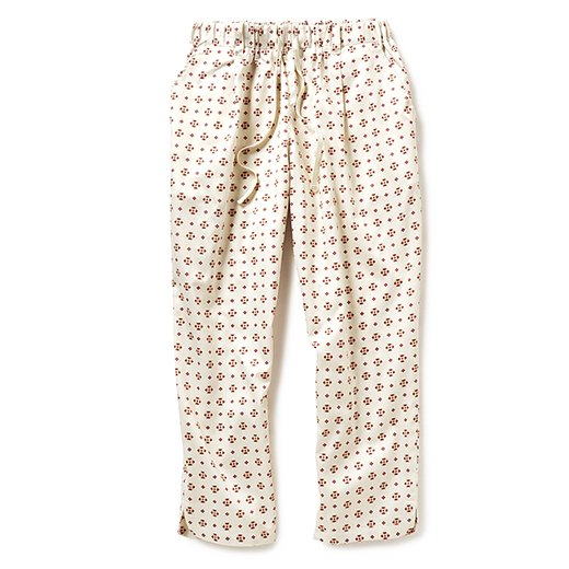 GOOD DAYS with GOOD CLOTHES スモーキーカラーの小紋柄プリントパンツ(オフホワイト)