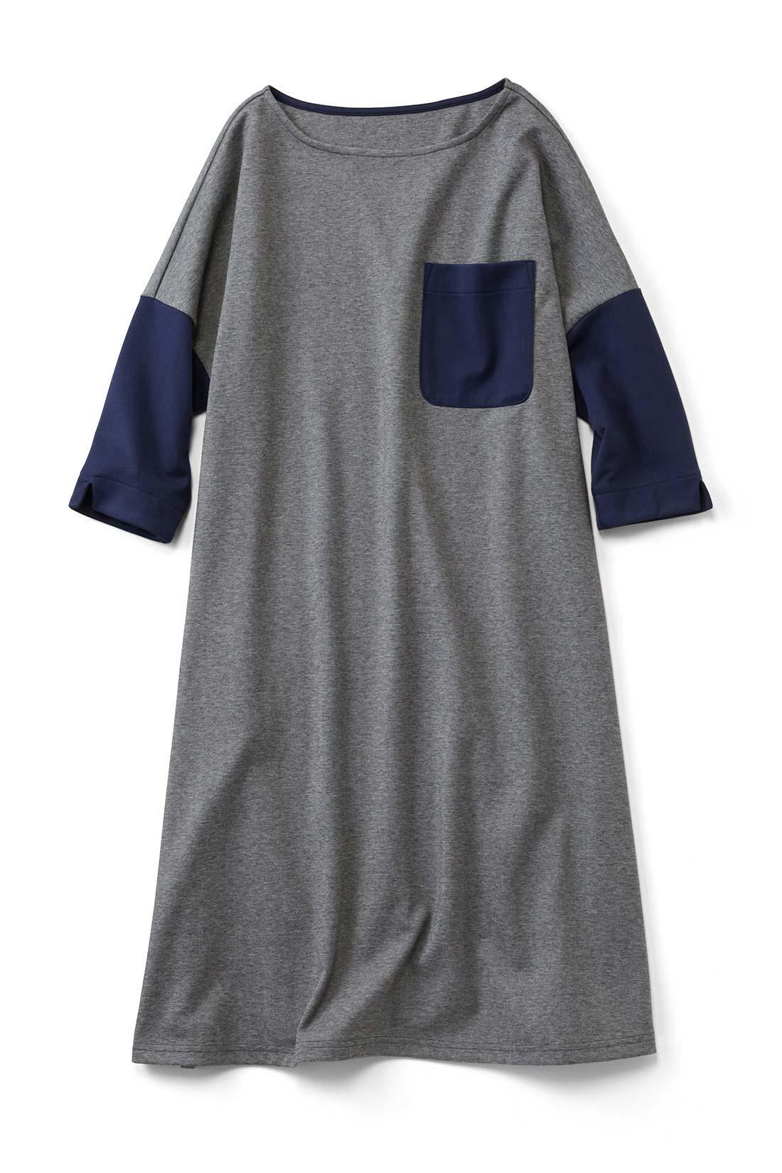【グレー】大きなポケットがインパクト大。ワイドシルエットだけど着ると、すとんと落ちてかわいいの。