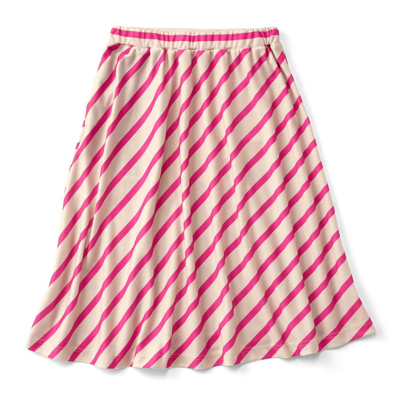 ななめストライプのやわらかスカート〈ピンク〉