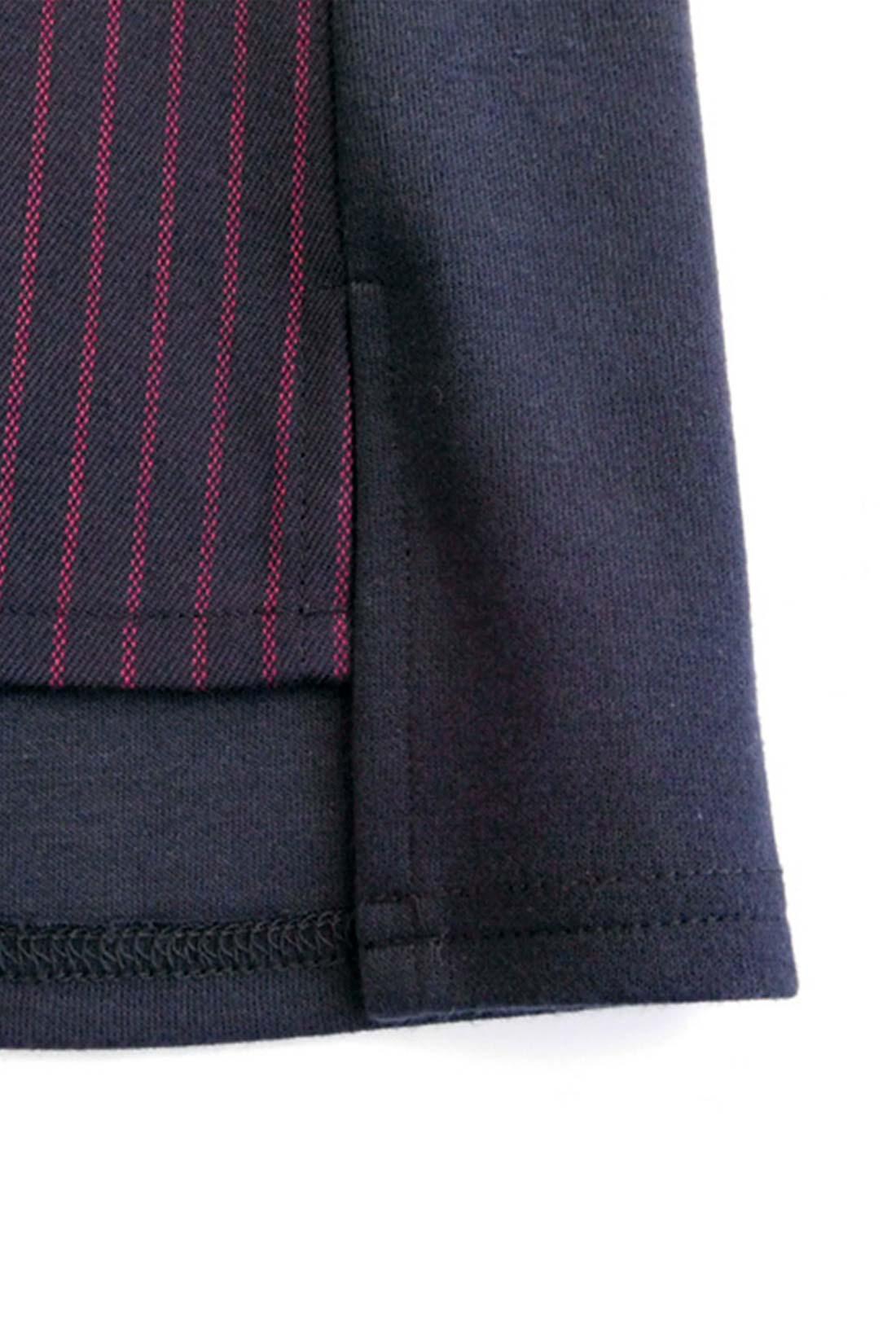 【前身ごろだけ。】袖と背中は無地のカットソー、前身ごろと袖口裏だけ細めのストライプになっているよ。