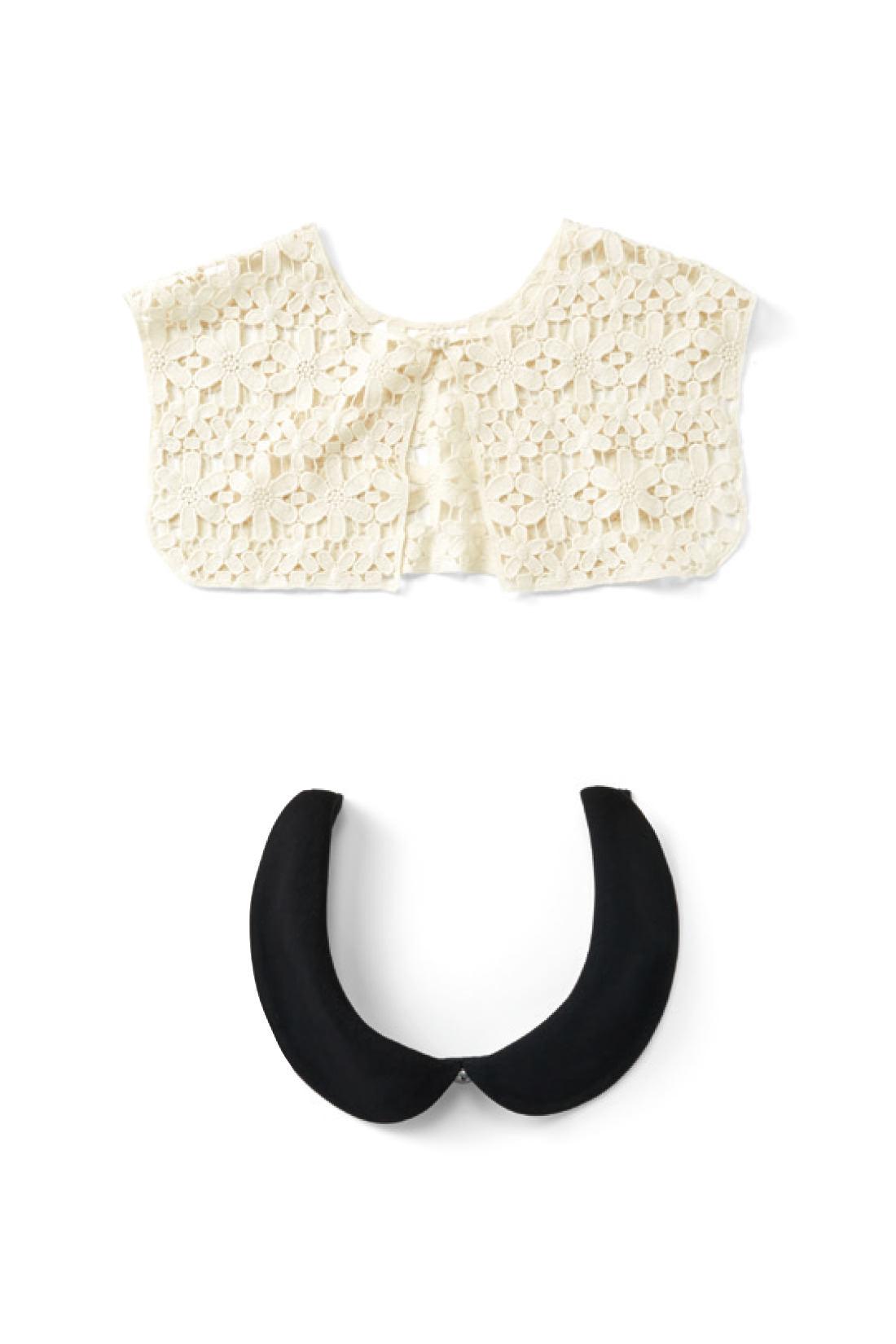 レース衿とワンピースと共生地で作った丸衿の3点セット。衿で印象がずいぶん変わるので、卒園、入学式など、シーンに合わせて着まわしできるのもうれしい。