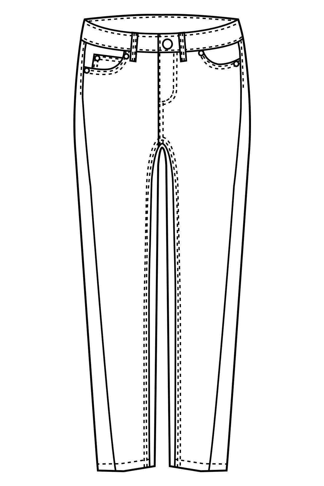 スキニーとボーイズシルエットの間くらいの女性らしいゆるフィットシルエット。サイドのシームをわざと前にほどこして、脚が細長く見えるパターンにこだわりました。