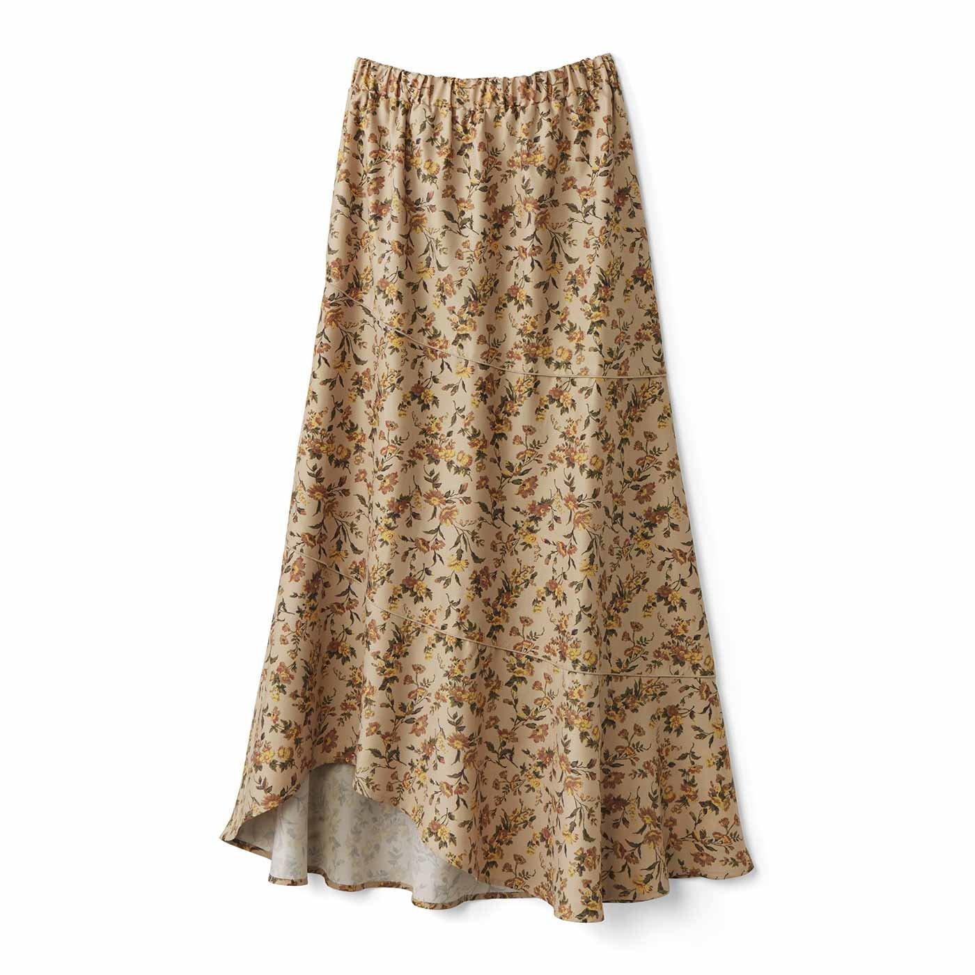 【3~10日でお届け】IEDIT[イディット] あったか裏地付き花柄ロングスカート〈ベージュ〉