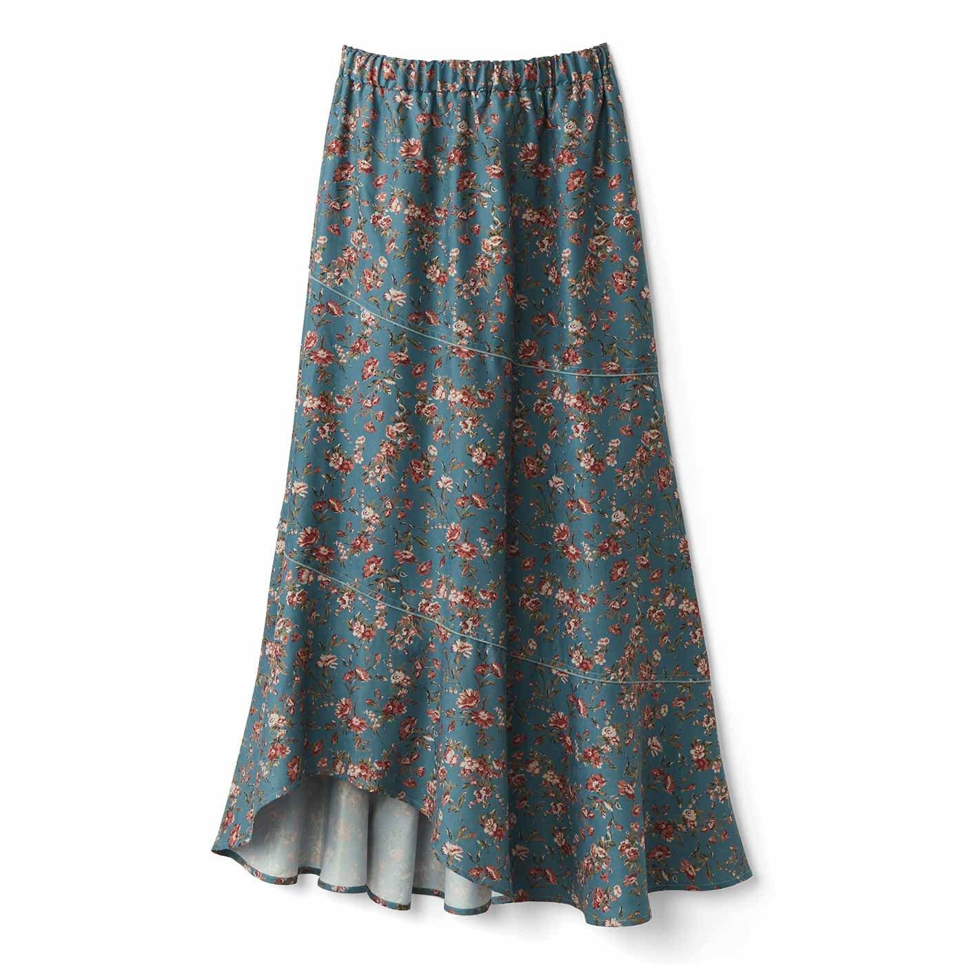 【3~10日でお届け】IEDIT[イディット] あったか裏地付き花柄ロングスカート〈グリーン〉