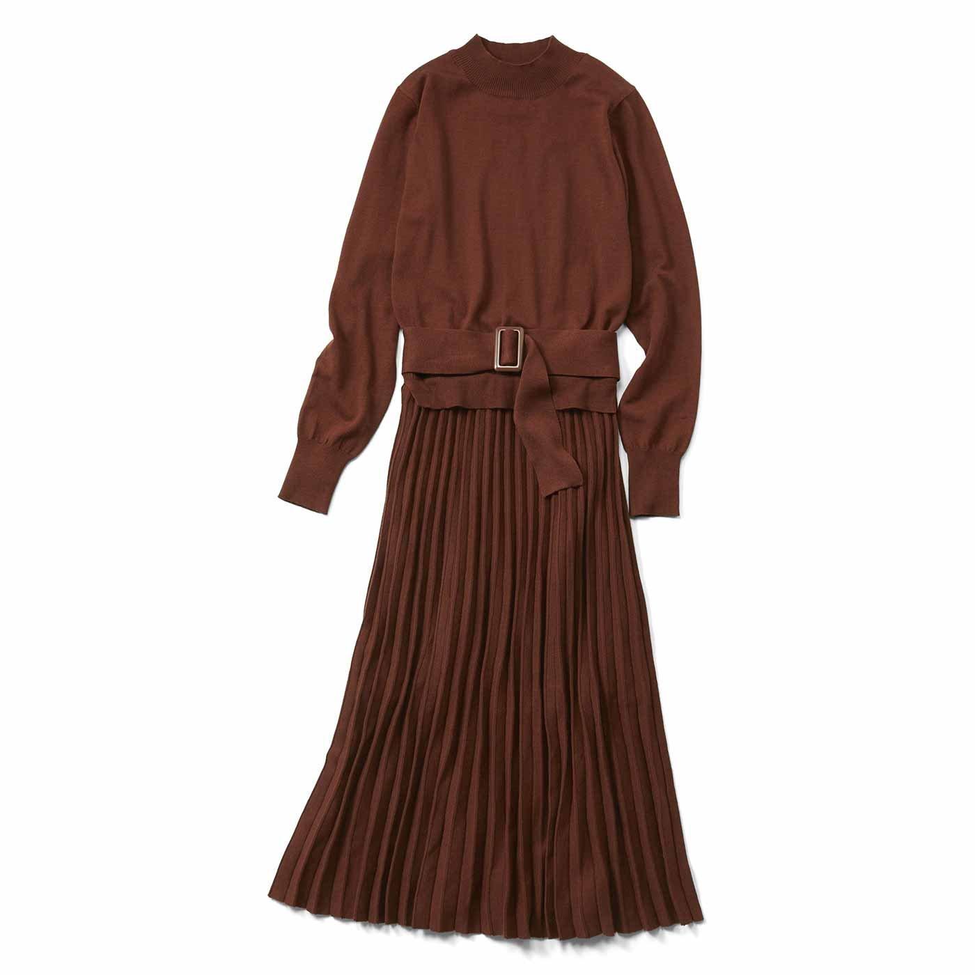 【3~10日でお届け】IEDIT[イディット] 上品プリーツニットドレス〈テラコッタブラウン〉