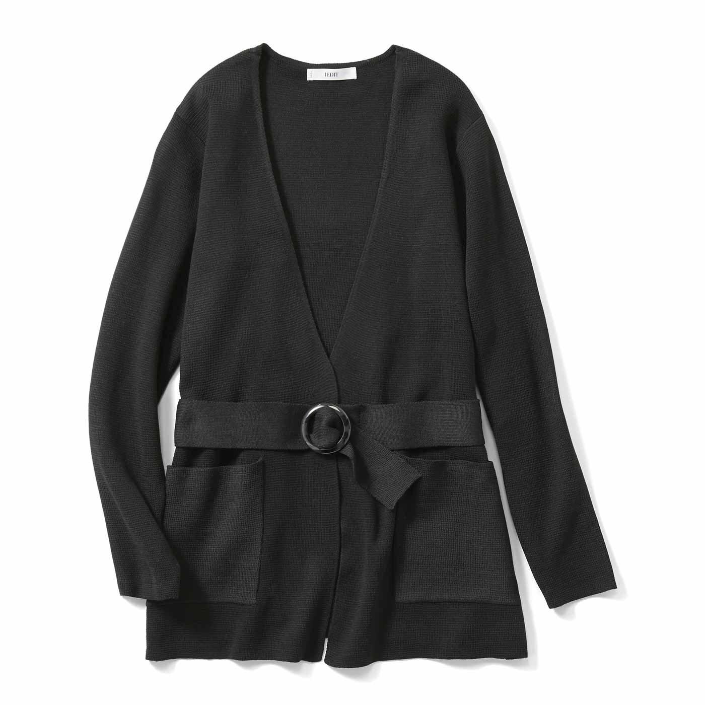 IEDIT[イディット] ベルト付きノーカラーミラノリブニットジャケット〈ブラック〉