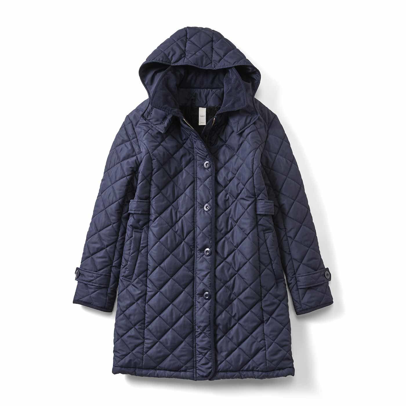 【3~10日でお届け】IEDIT[イディット] 中わた入り極軽キルティングコート〈ネイビー〉