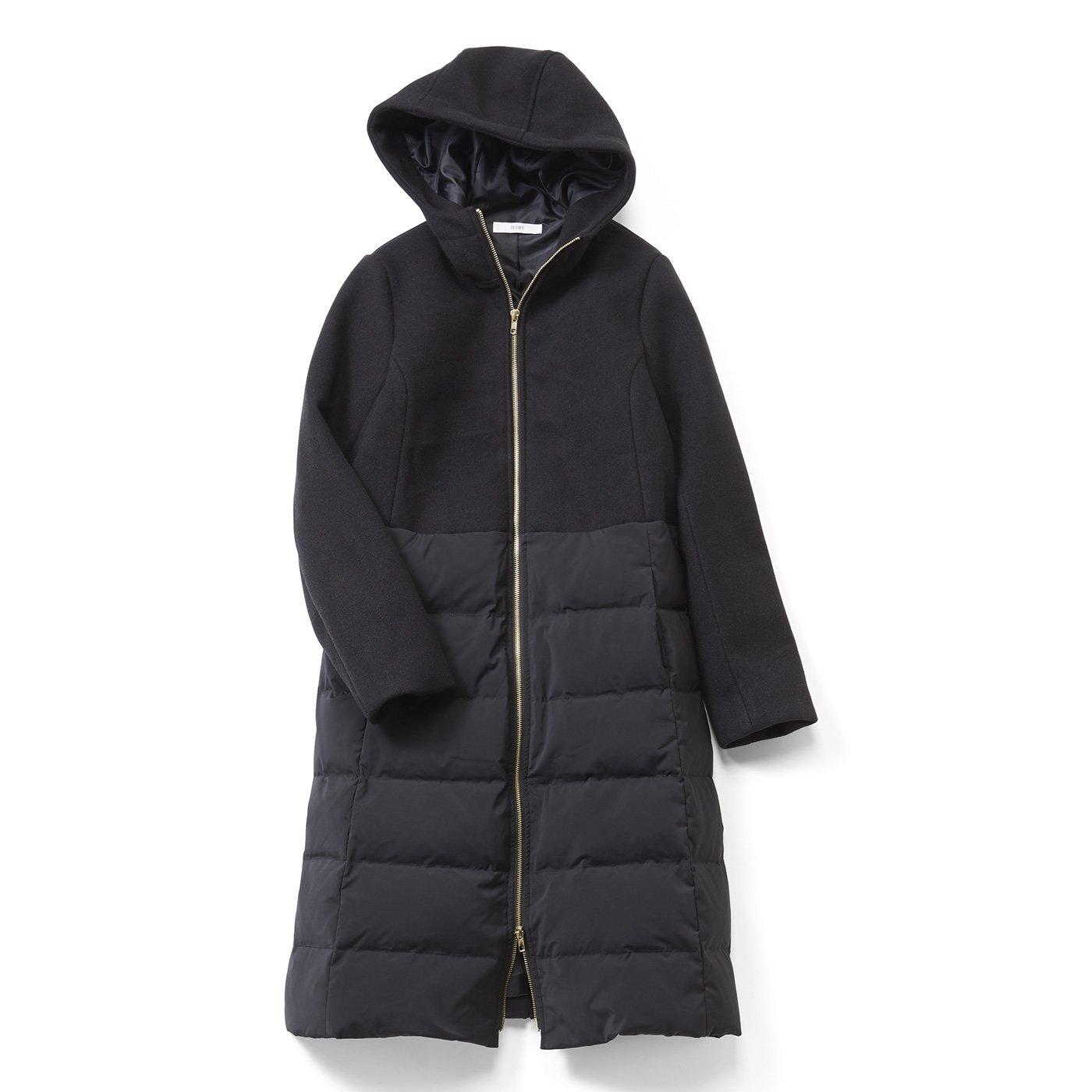 【3~10日でお届け】IEDIT[イディット] メルトン風切り替えの きれいめダウン遣いコート〈ブラック〉