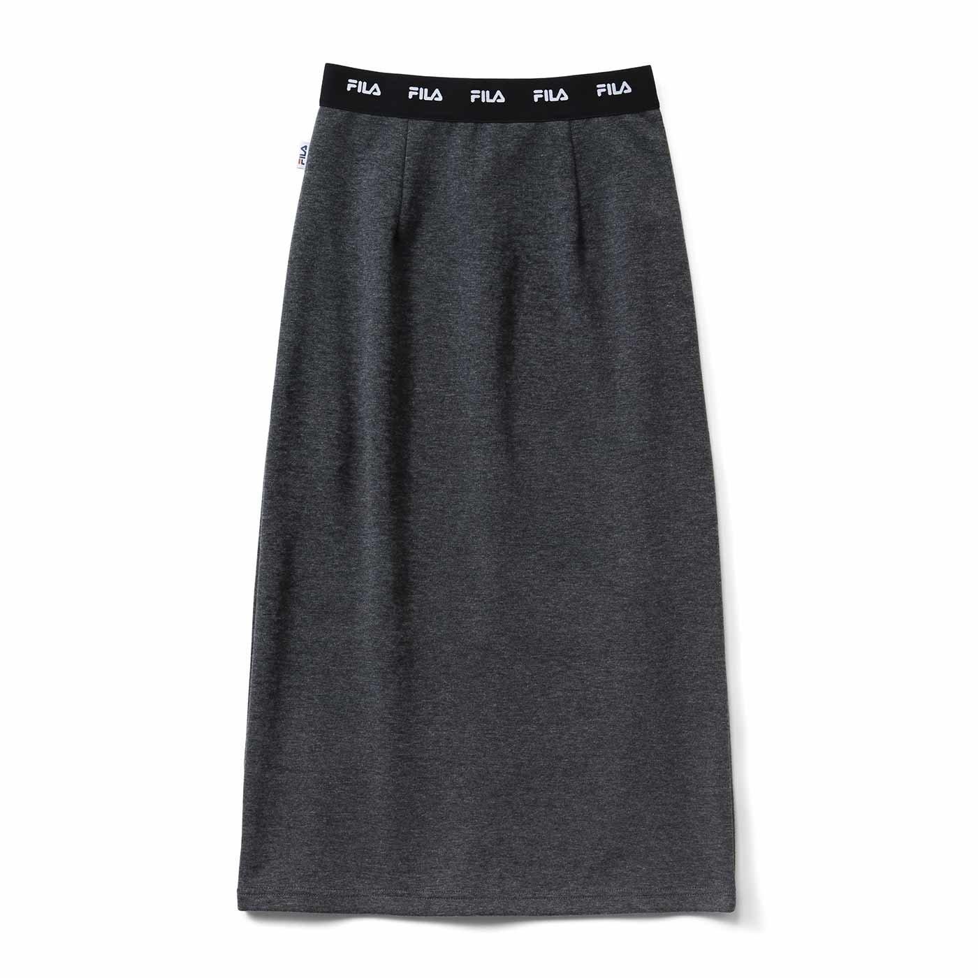 【3~10日でお届け】IEDIT[イディット] FILA別注 きれいめスウェットⅠラインスカート〈チャコール杢(もく)グレー〉