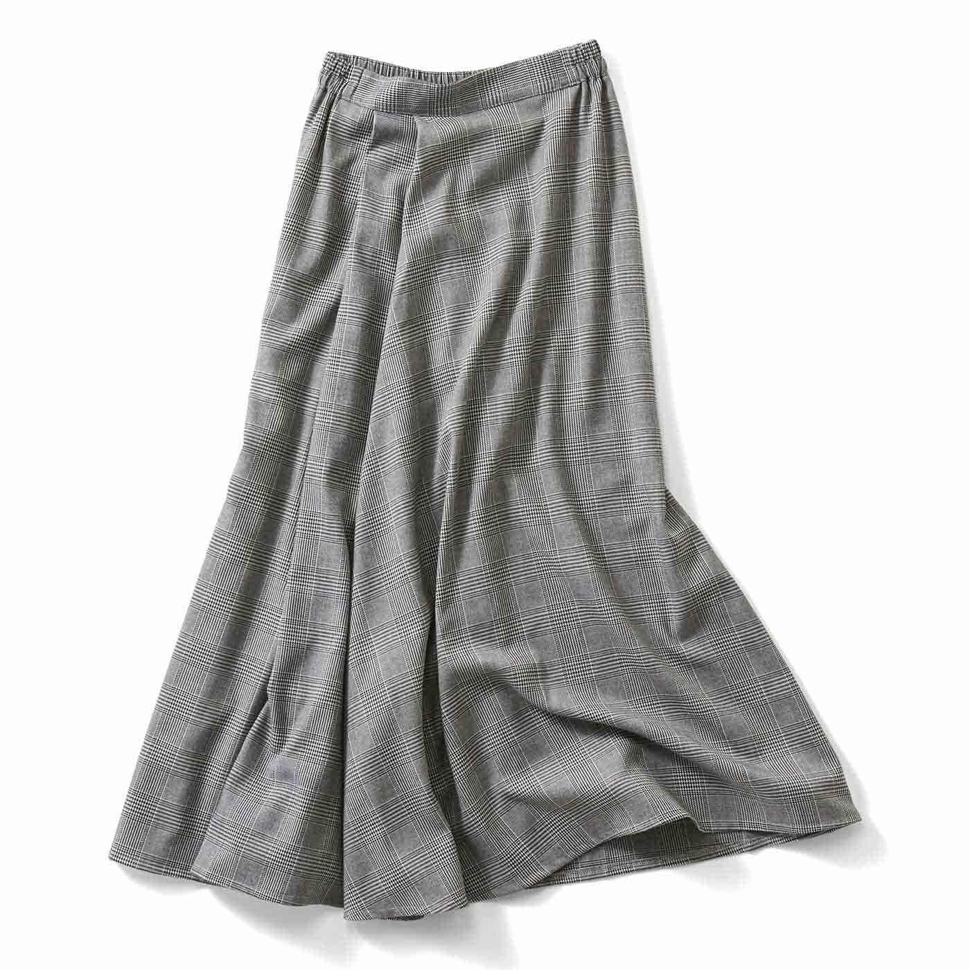 【3~10日でお届け】IEDIT[イディット] タックデザインのチェック柄マキシスカート〈ブラック〉