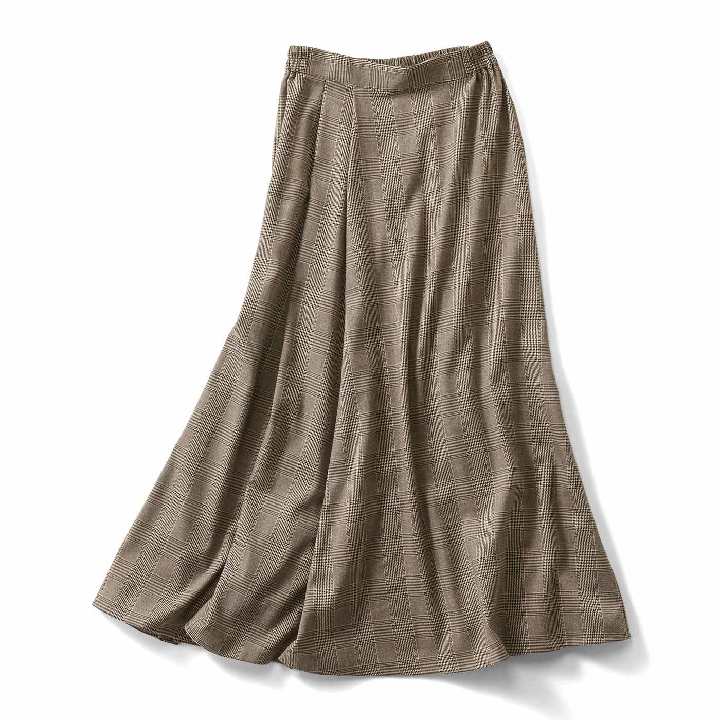 【3~10日でお届け】IEDIT[イディット] タックデザインのチェック柄マキシスカート〈ベージュ〉