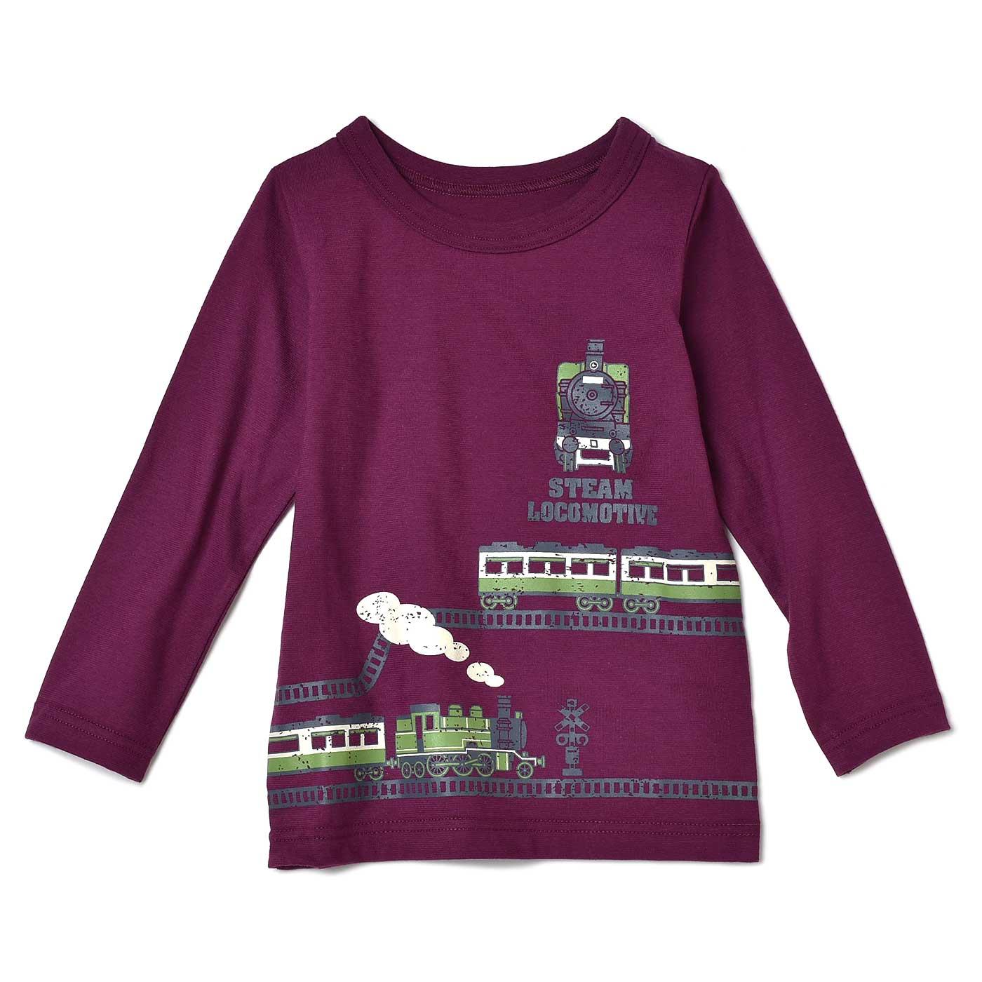 かっこよくておしゃれ! 線路を走る僕の電車Tシャツ〈パープル〉