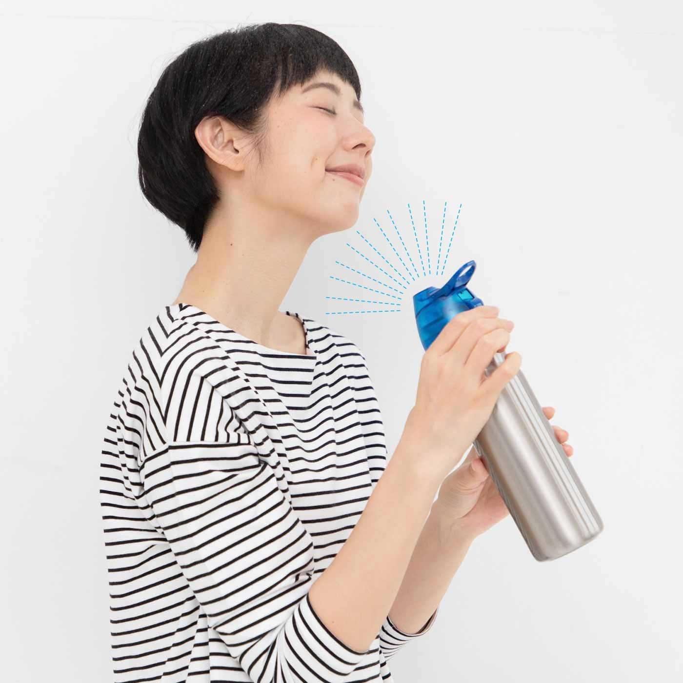 プシュッと細かいミストが出る 真空断熱ステンレスボトル〈ブルー〉