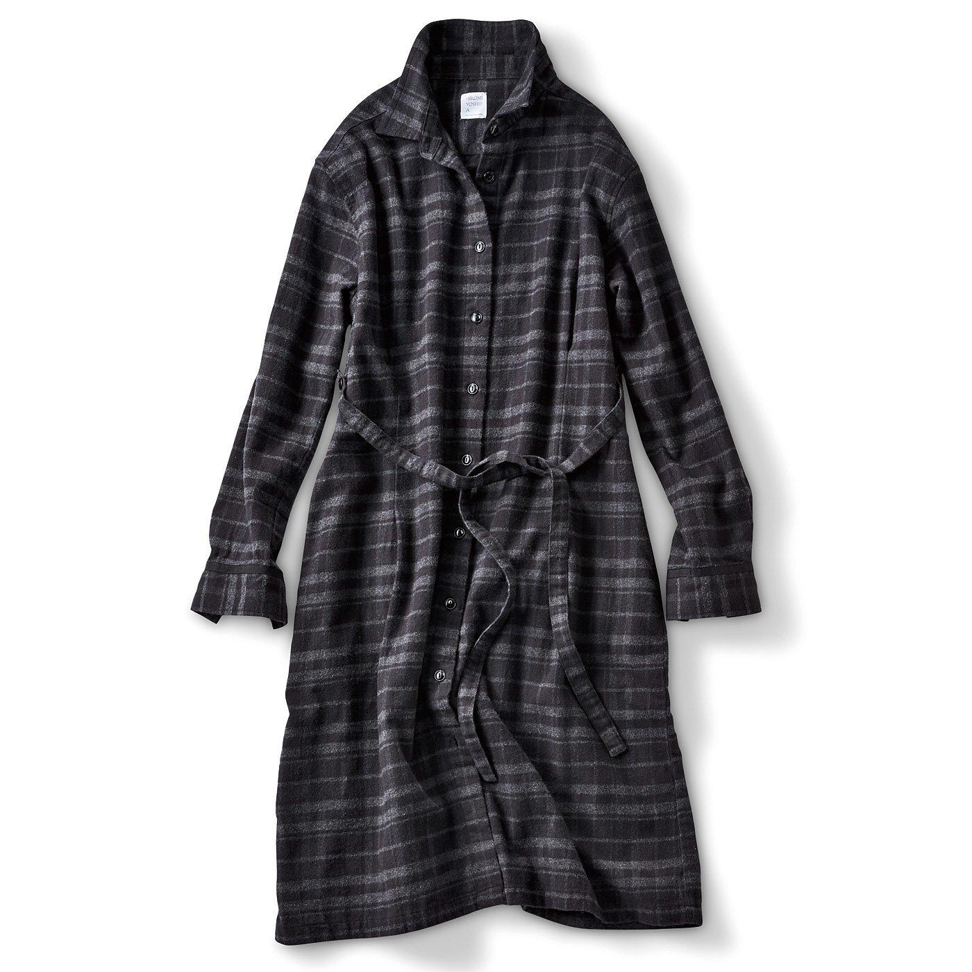 HIROMI YOSHIDA. コートみたいなブラックチェックロングシャツ