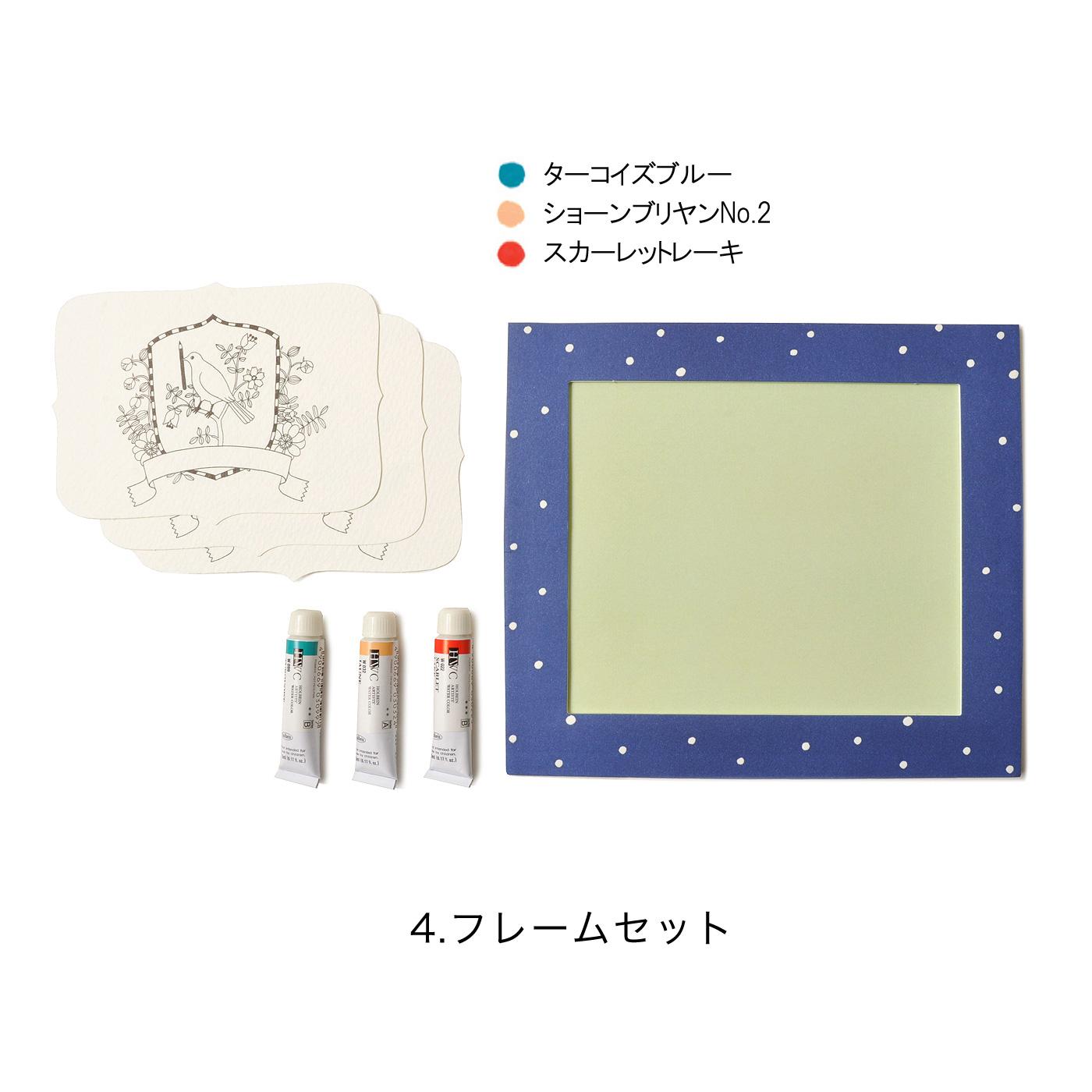 布川さんの手書きドット柄が愛らしいミニフレームには、写真を入れたり、カードに色付けして貼って飾れば家族の思い出スペースに。小鳥柄のカード3枚と絵の具は「ケーキ」をイメージした3色をセット。