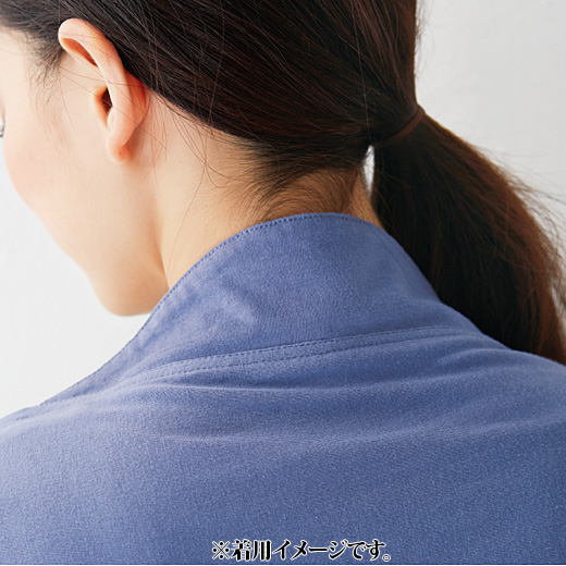 これは参考画像です。高めの衿で、首の後ろもUV対策。