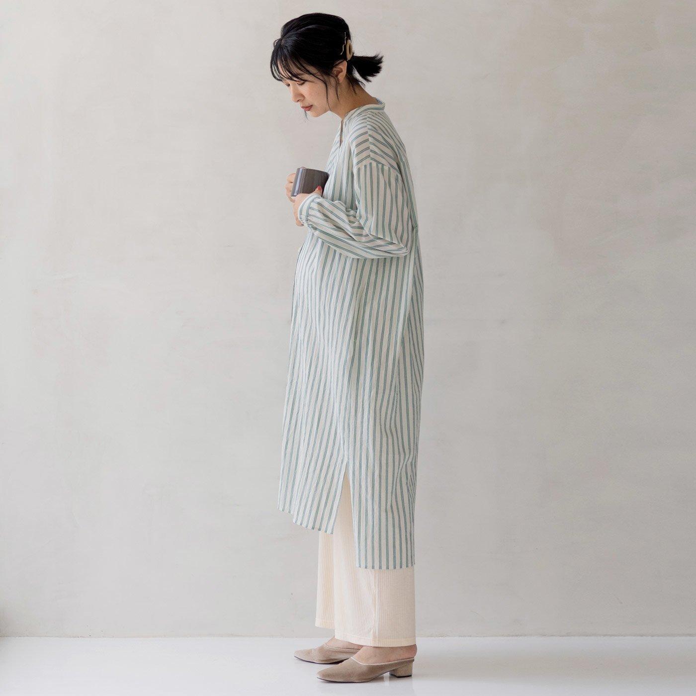 フェリシモMama マタニティから産後も使える ママによりそうストライプワンピースパジャマ〈グリーン〉