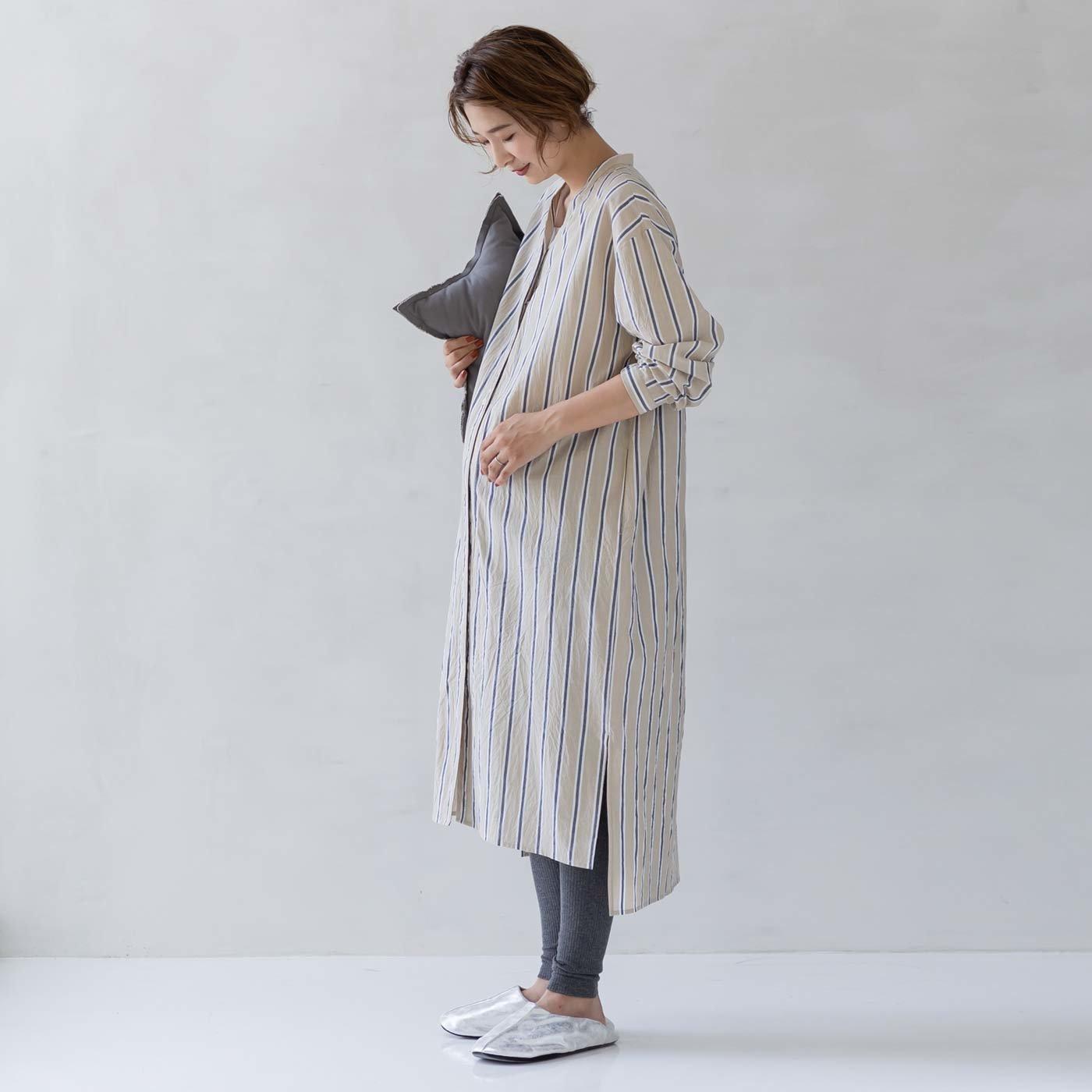 フェリシモMama マタニティから産後も使える ママによりそうストライプワンピースパジャマ〈ベージュ〉