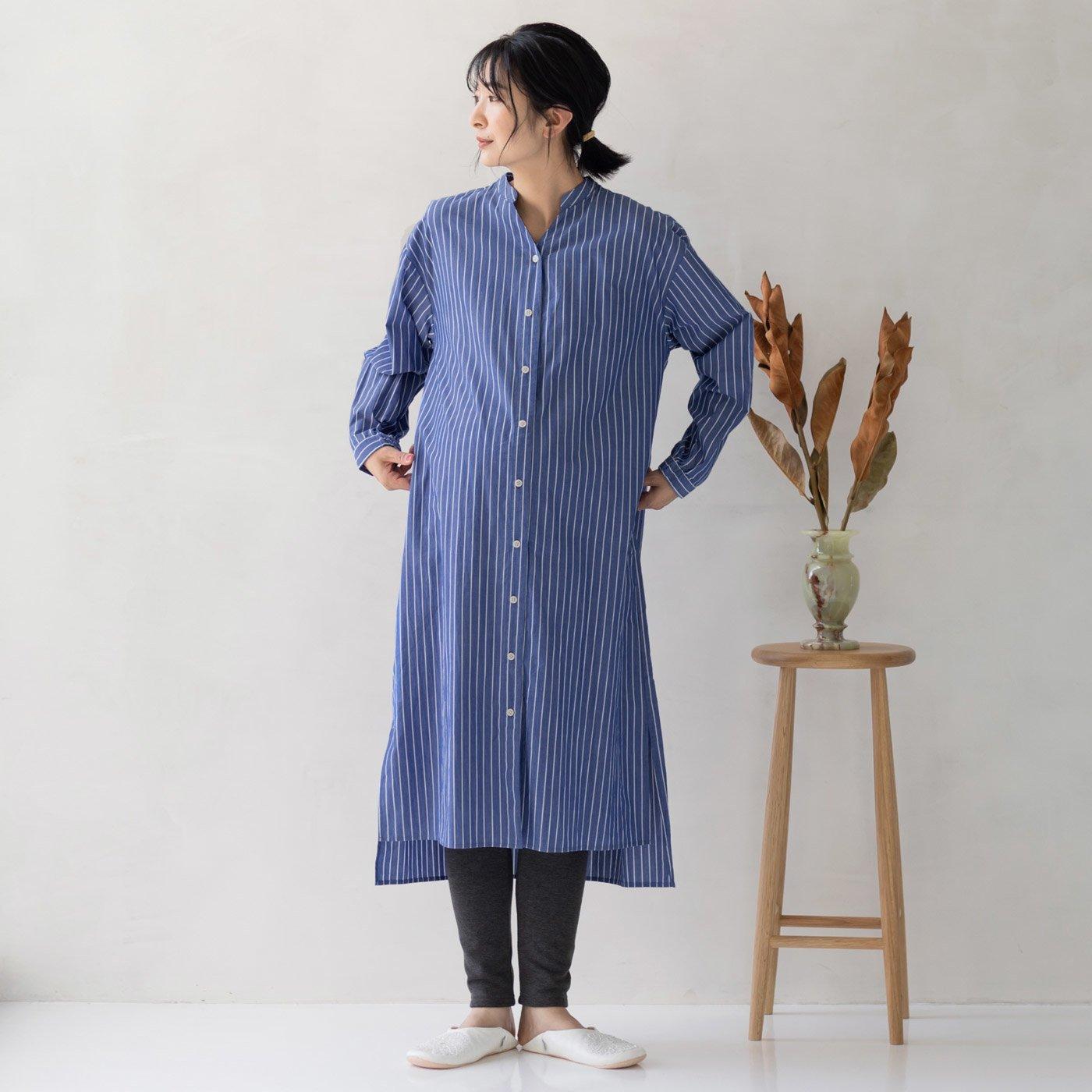 フェリシモMama マタニティから産後も使える ママによりそうストライプワンピースパジャマ〈ブルー〉