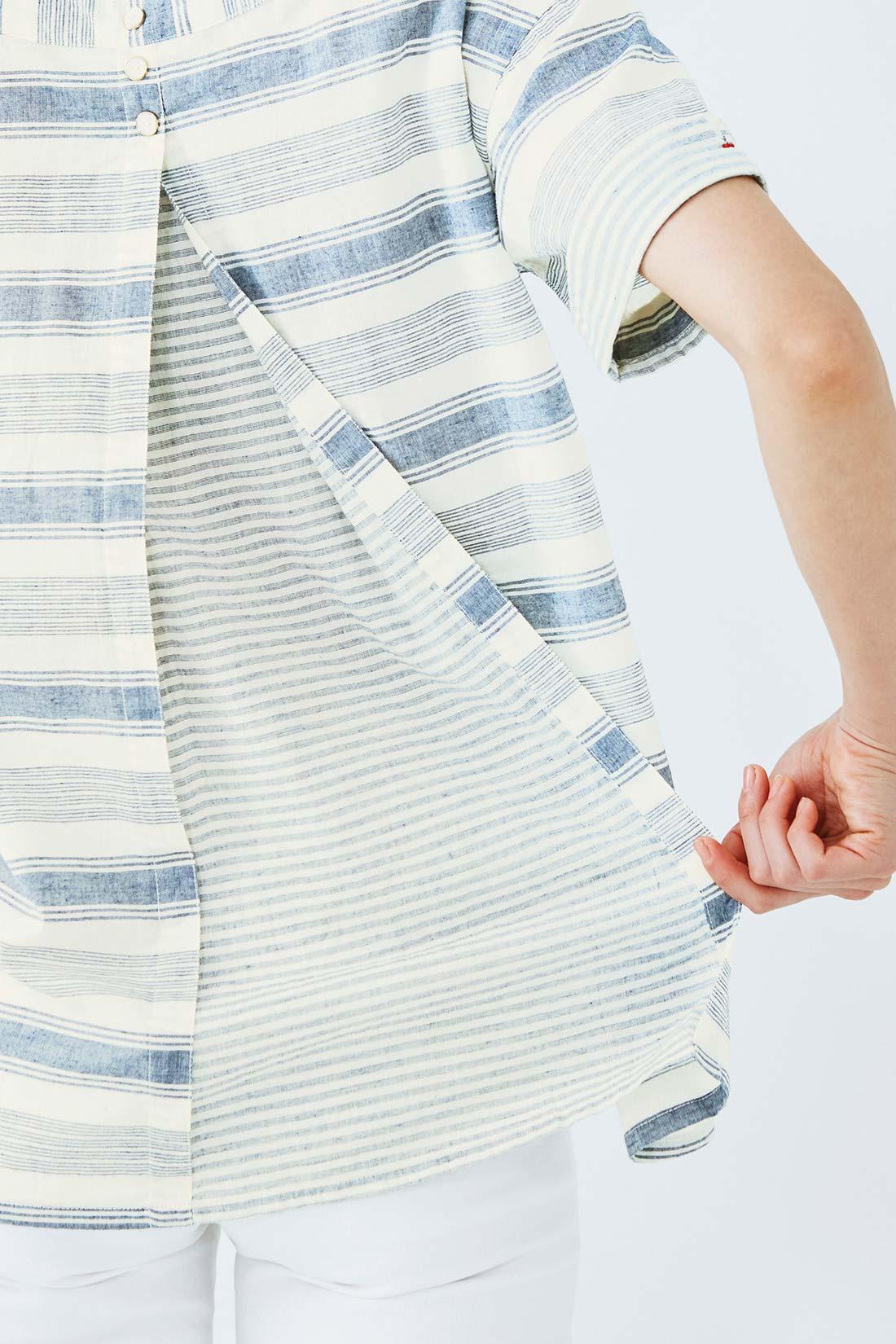 バックの切り替えは、まちたっぷりで動きやすい!※着用イメージです。お届けするカラーとは異なります。
