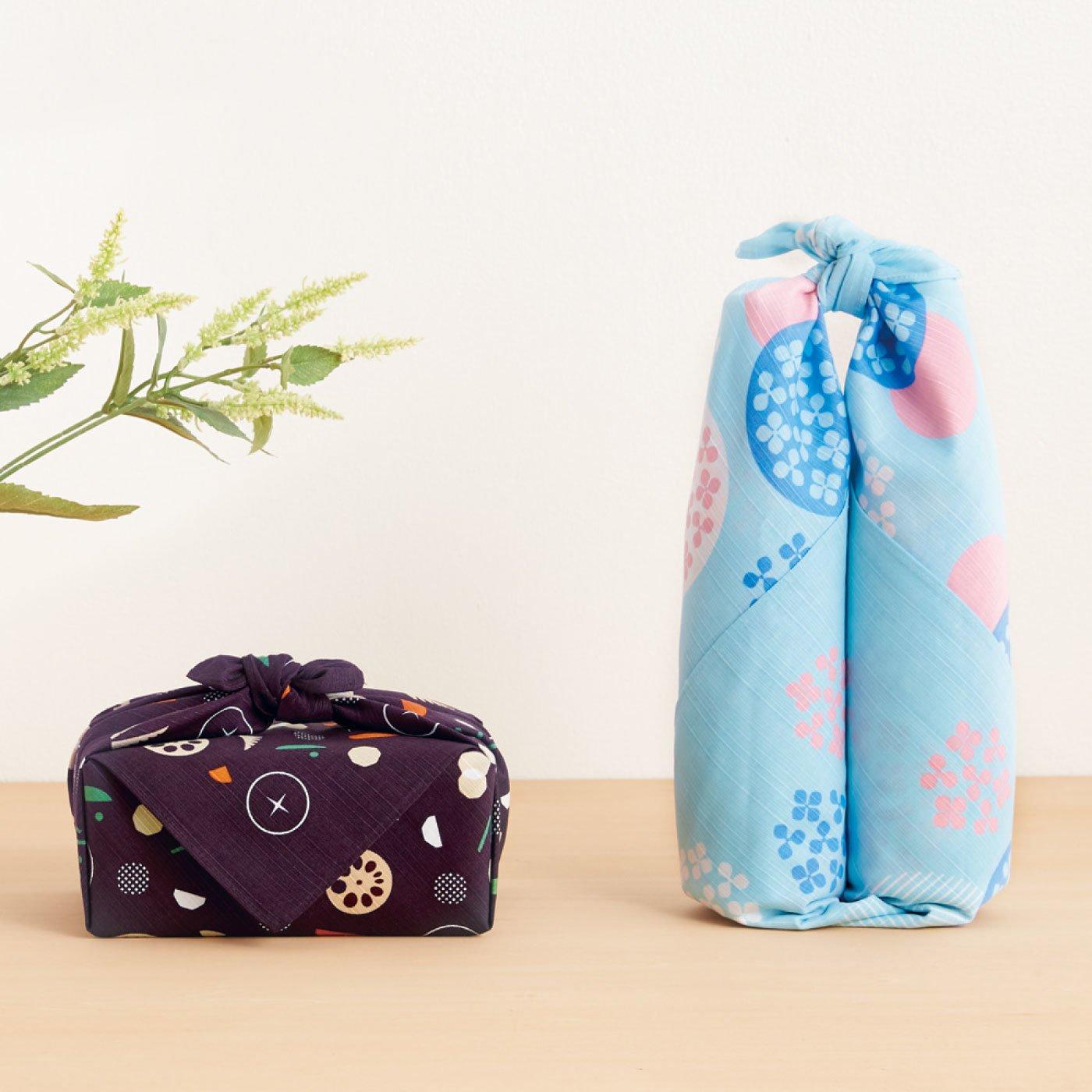 小粋なバッグを結んで仕立てる おかみさんの大風呂敷と風呂敷リングセット