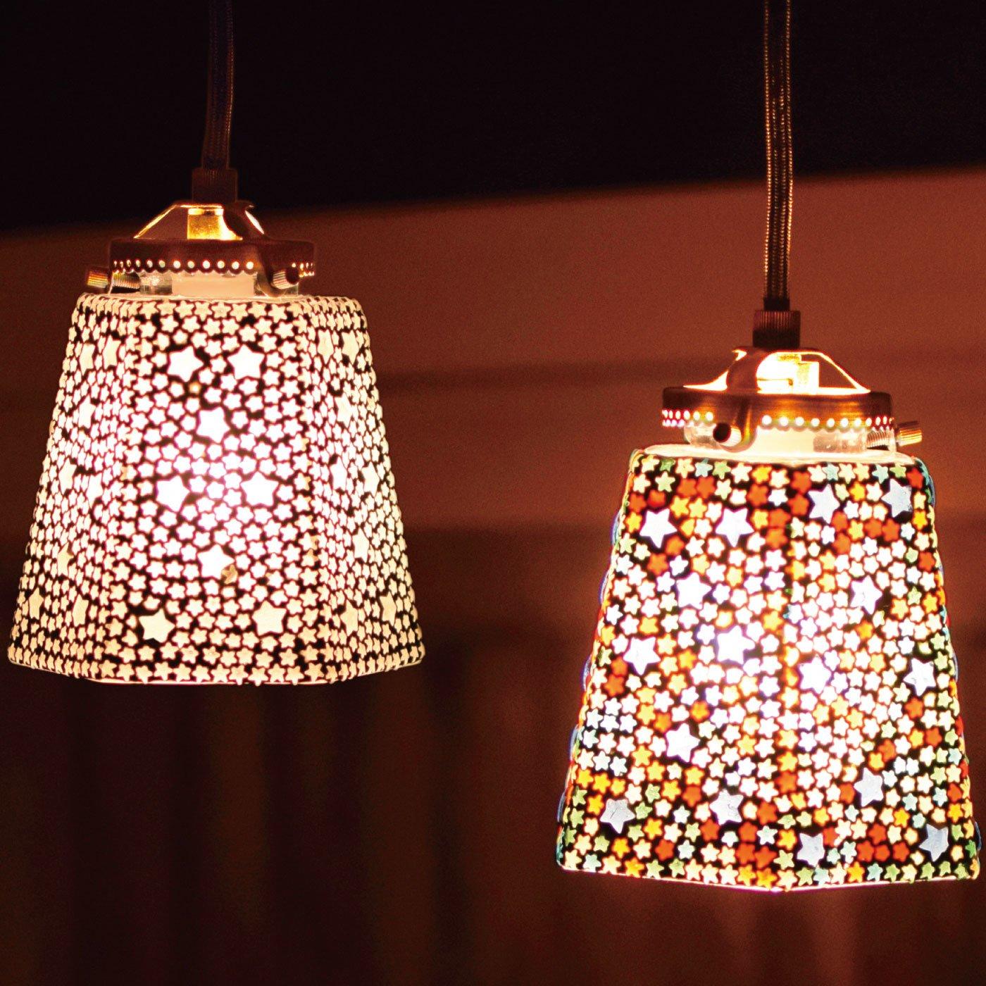 お部屋をエキゾチックに灯す モザイクハンギングランプ〈六角〉