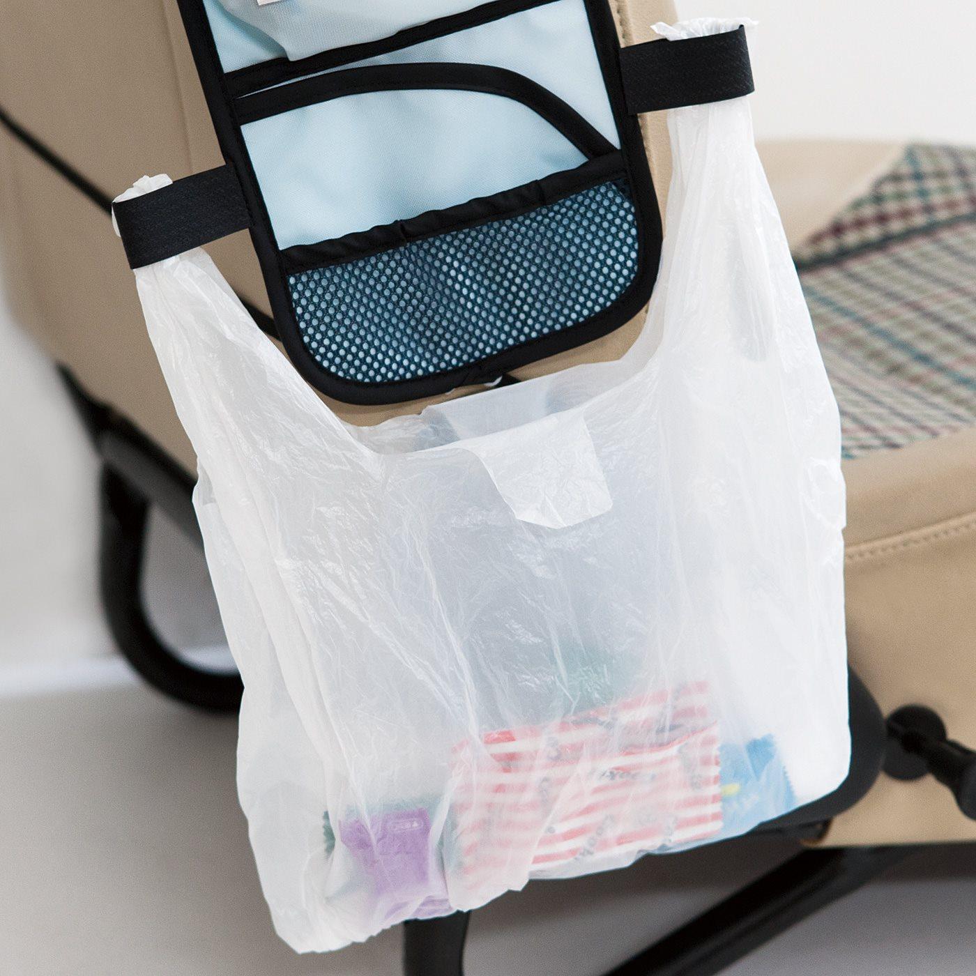 袋を広げてぶら下げられるループ付き。ゴミが散らかりません。