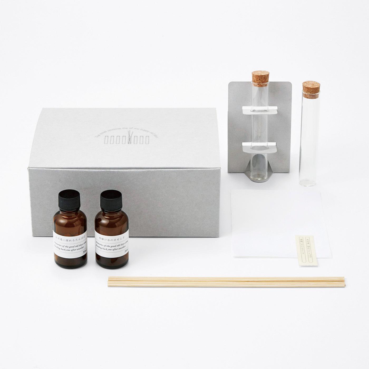 ●1回のお届けセット例です。専用の箱に入って、2種類の香りが届きます。
