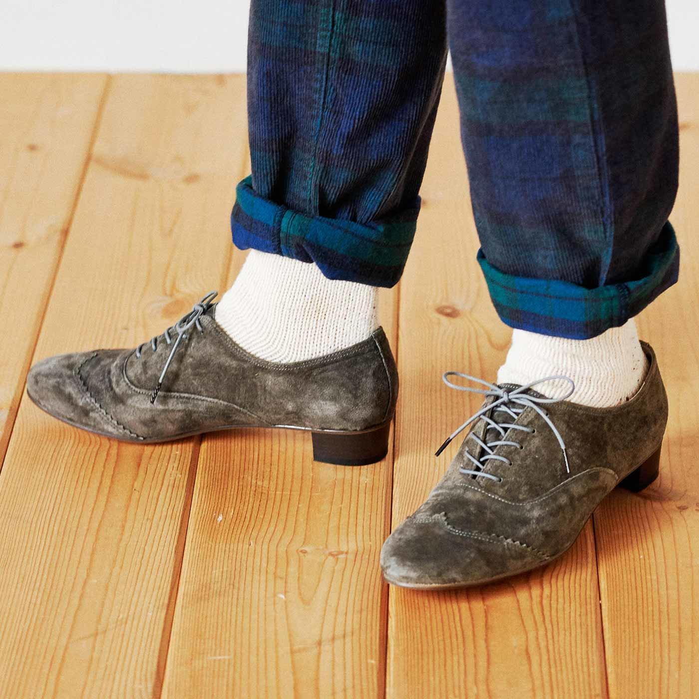 長田靴職人の本革仕立て シンプルレースアップ スエードシューズ〈オリーブグレー〉[本革 靴:日本製]