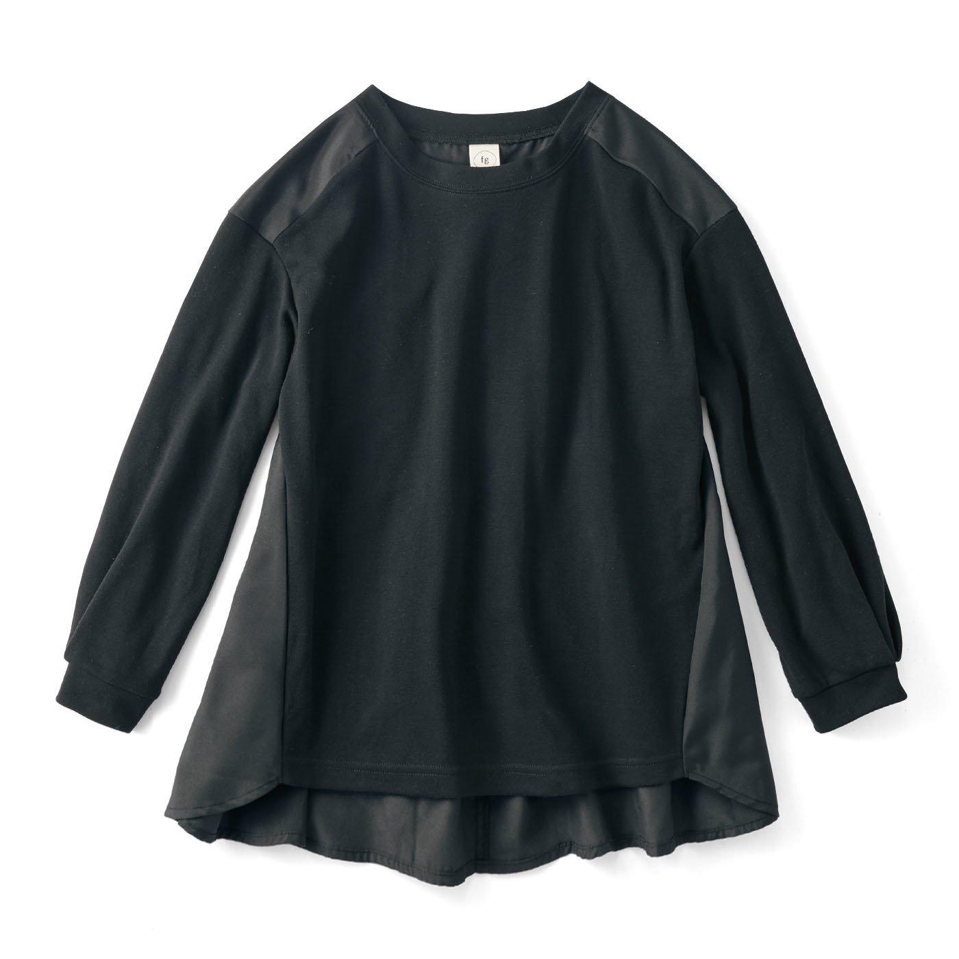 フラウグラット  うれしい撥水加工の布はくとゆるカットソードッキングトップス〈ブラック×ブラック〉