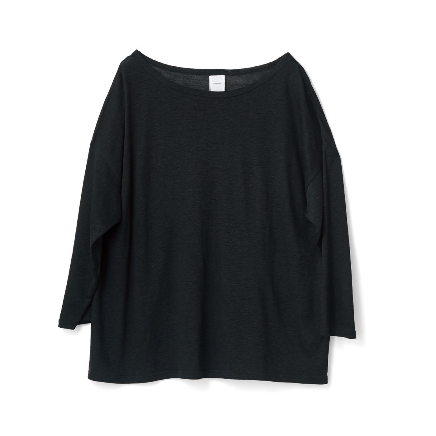 avecmoi 八分袖Tシャツ〈ブラック〉