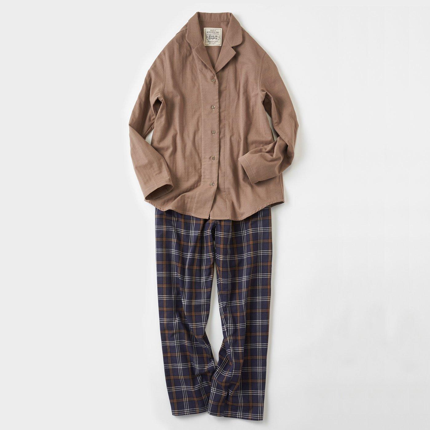 宅配便も取りにいける! リブ イン コンフォート コットン100% ダブルガーゼのパジャマ 〈モカ〉