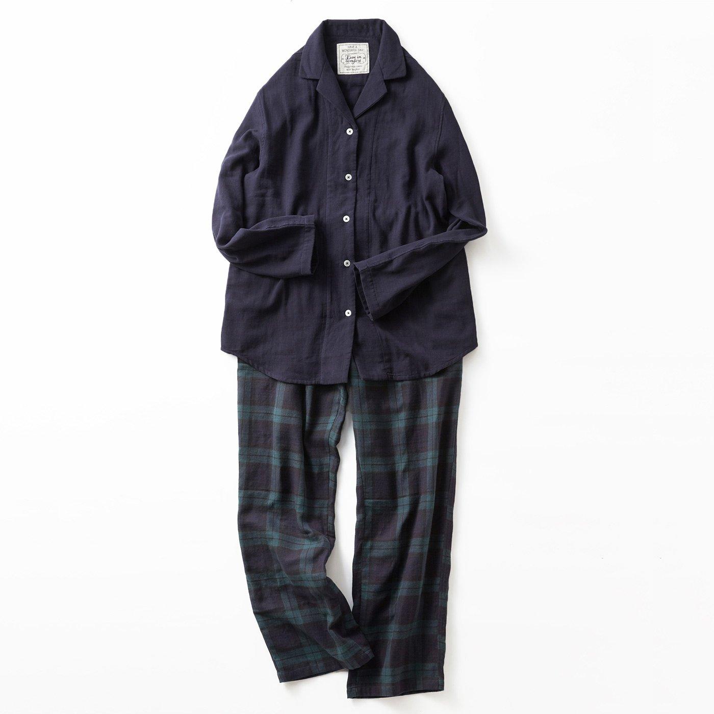 宅配便も取りにいける! リブ イン コンフォート コットン100% ダブルガーゼのパジャマ 〈ブラックウォッチ〉