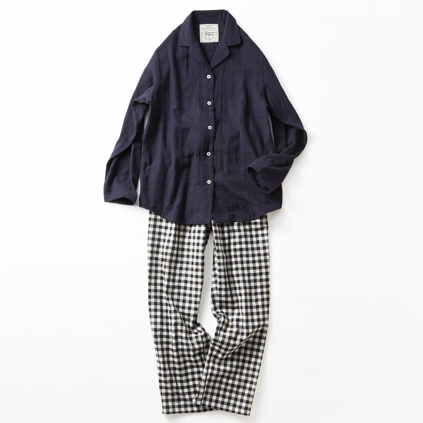 宅配便も取りにいける! リブ イン コンフォート コットン100% ダブルガーゼのパジャマ 〈ギンガム〉
