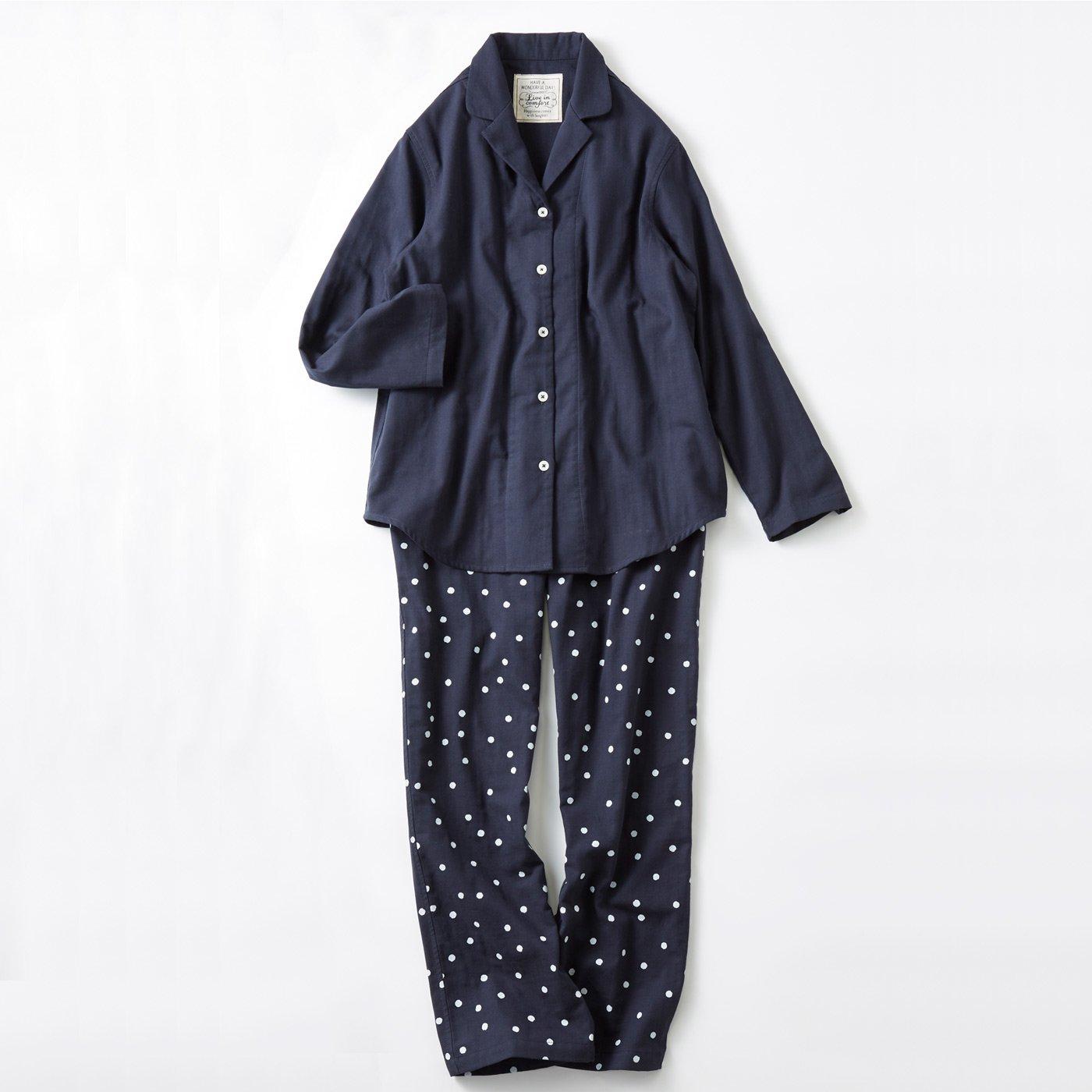 宅配便も取りにいける! リブ イン コンフォート コットン100% ダブルガーゼのパジャマ 〈ドット〉