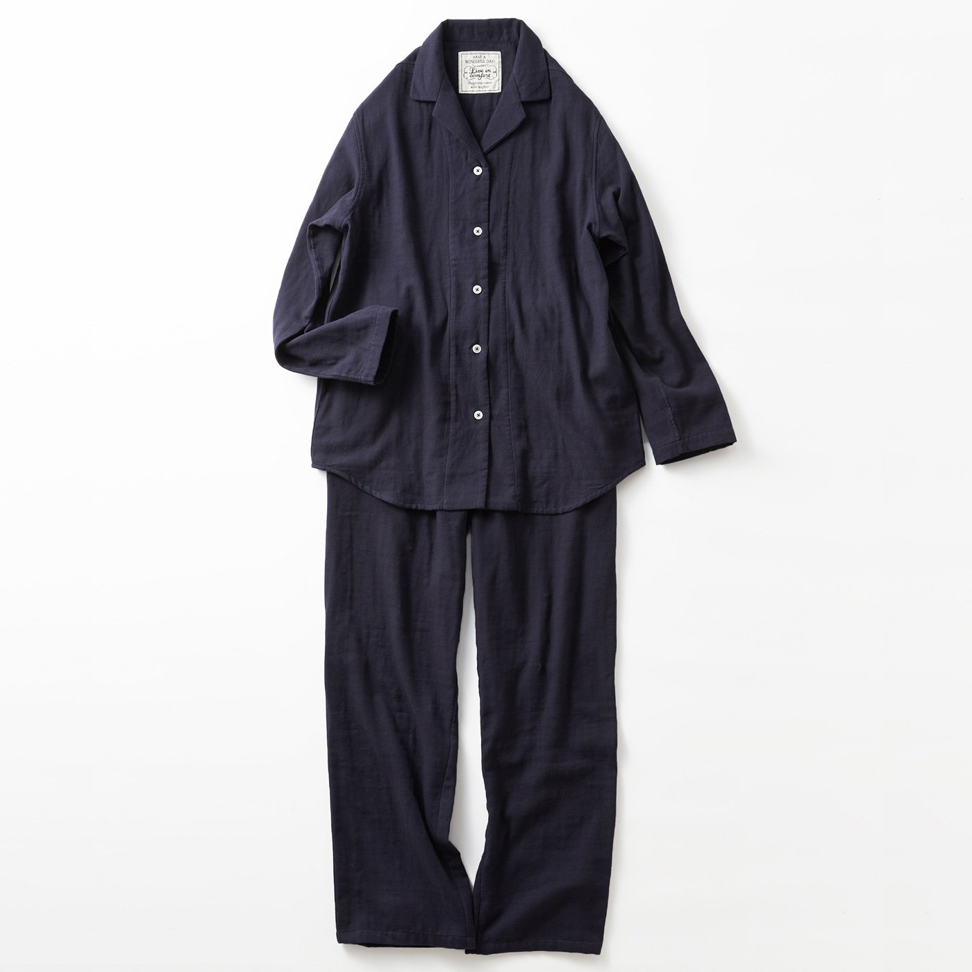 宅配便も取りにいける! リブ イン コンフォート コットン100% ダブルガーゼのパジャマ 〈ネイビー〉