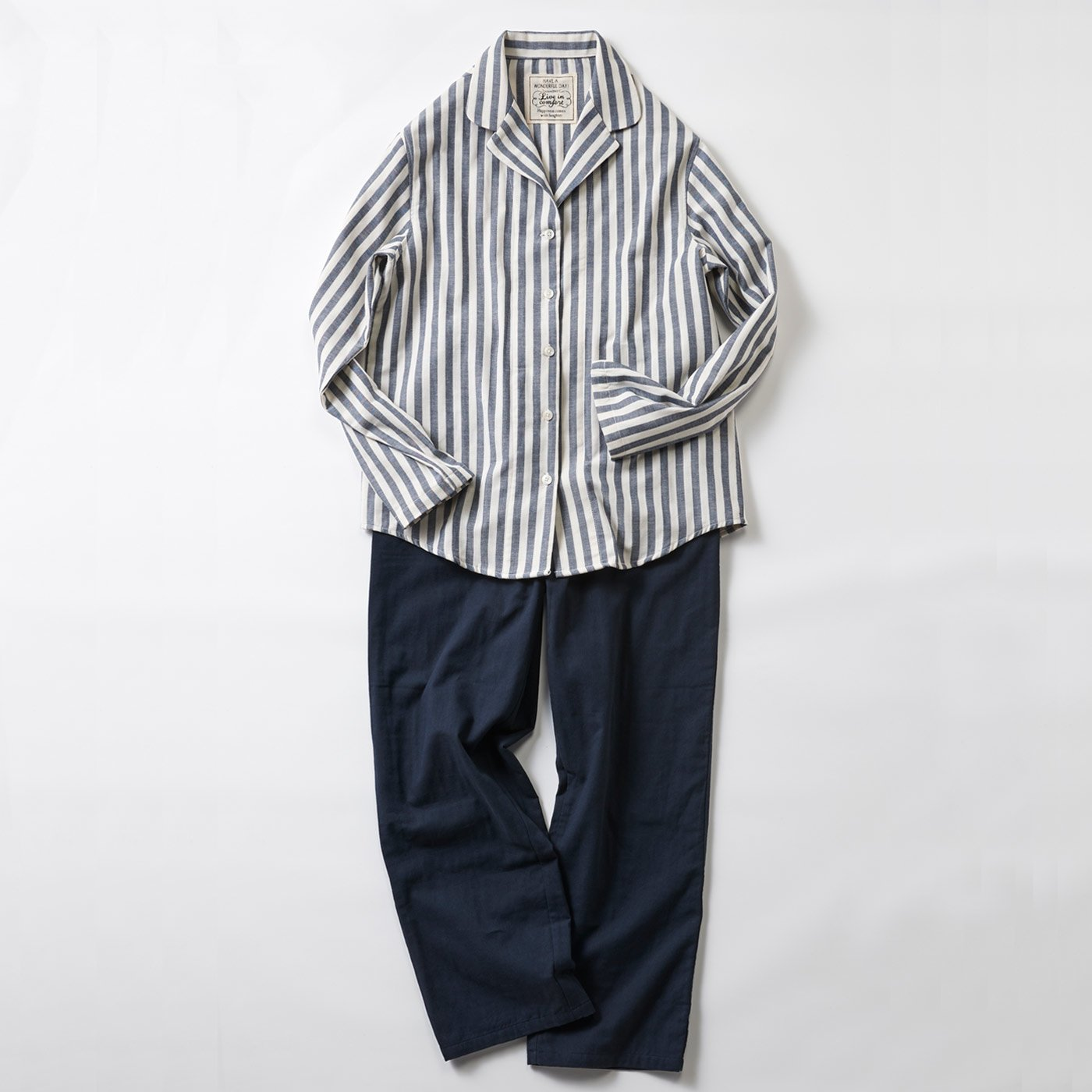 宅配便も取りにいける! リブ イン コンフォート コットン100% ダブルガーゼのパジャマ 〈ストライプ〉