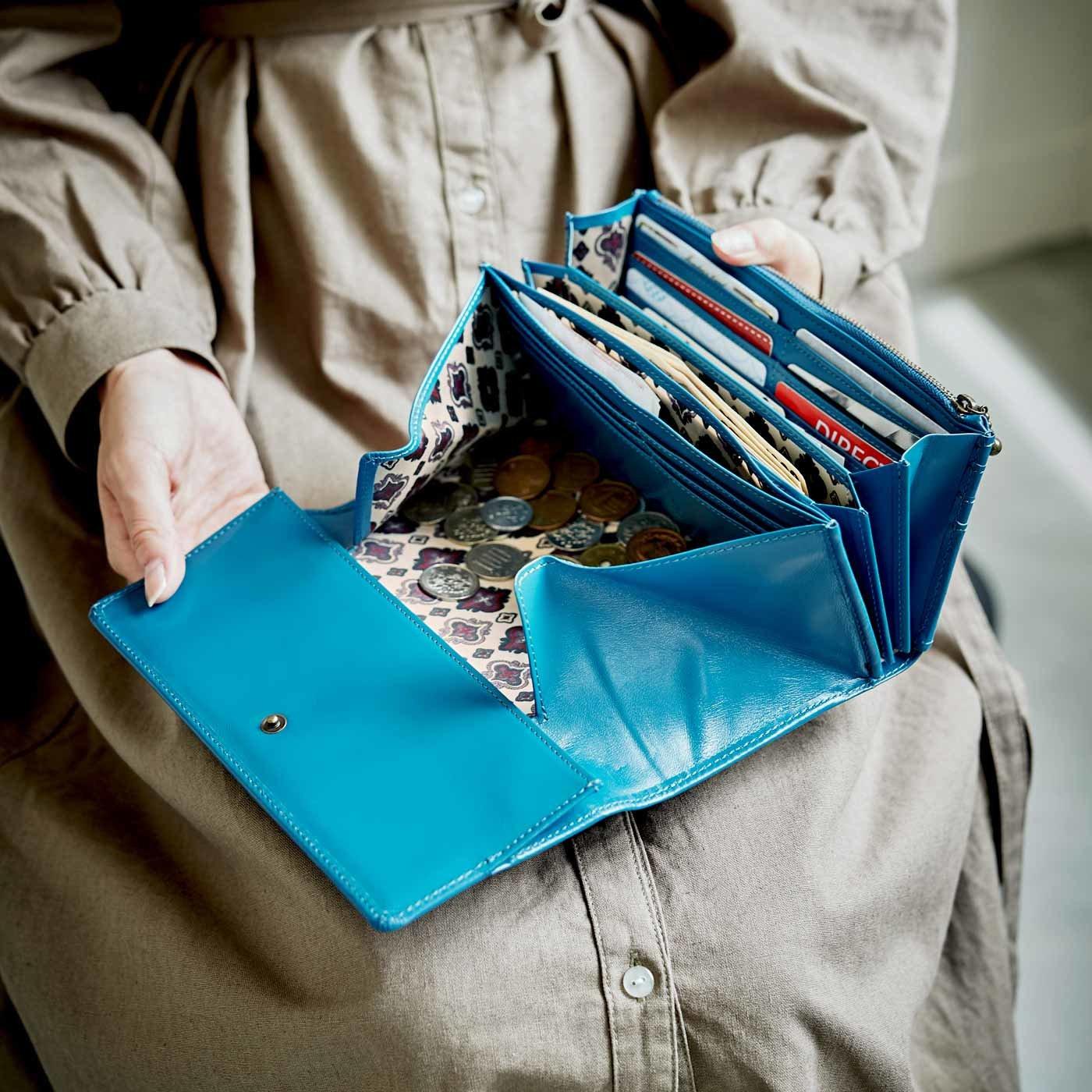 職人仕上げの馬革ギャルソン財布〈ターコイズ色〉[本革 財布:日本製]