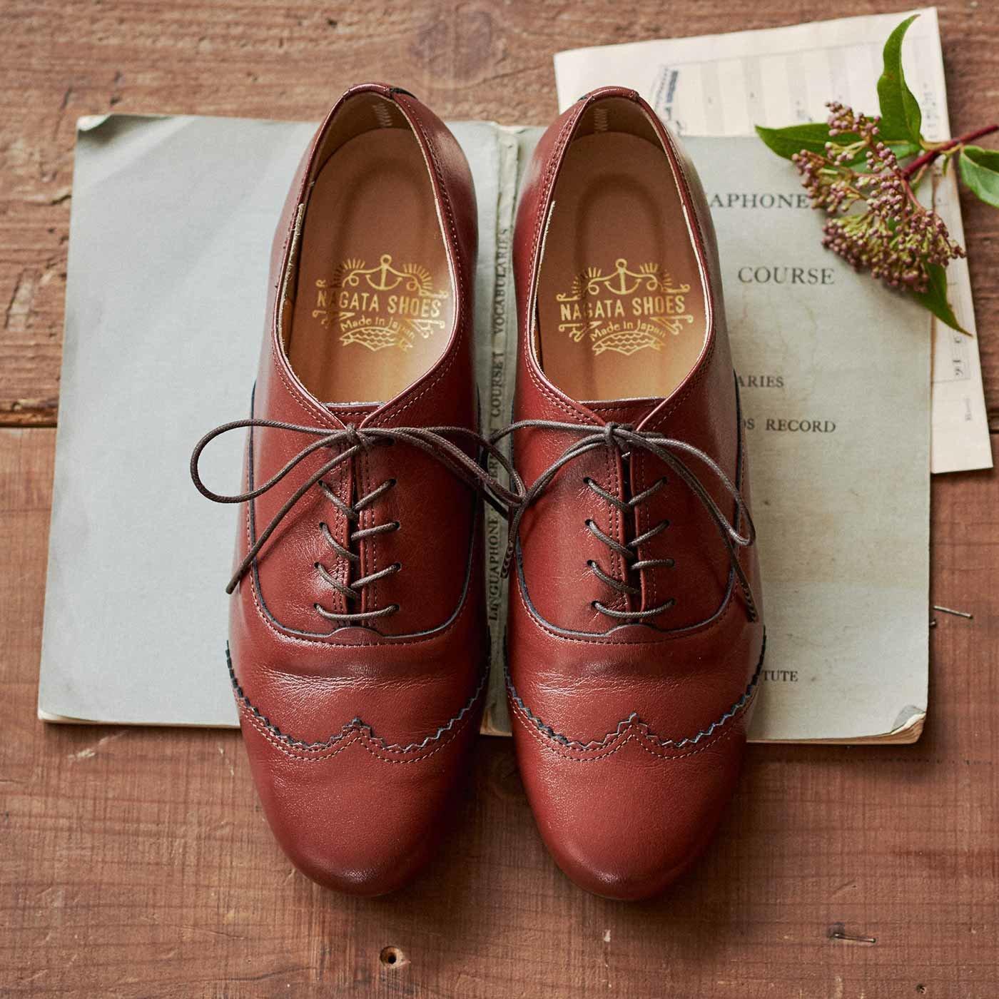 長田靴職人の本革仕立て シンプルレースアップレザーシューズ(レッドブラウン)[本革 靴:日本製]