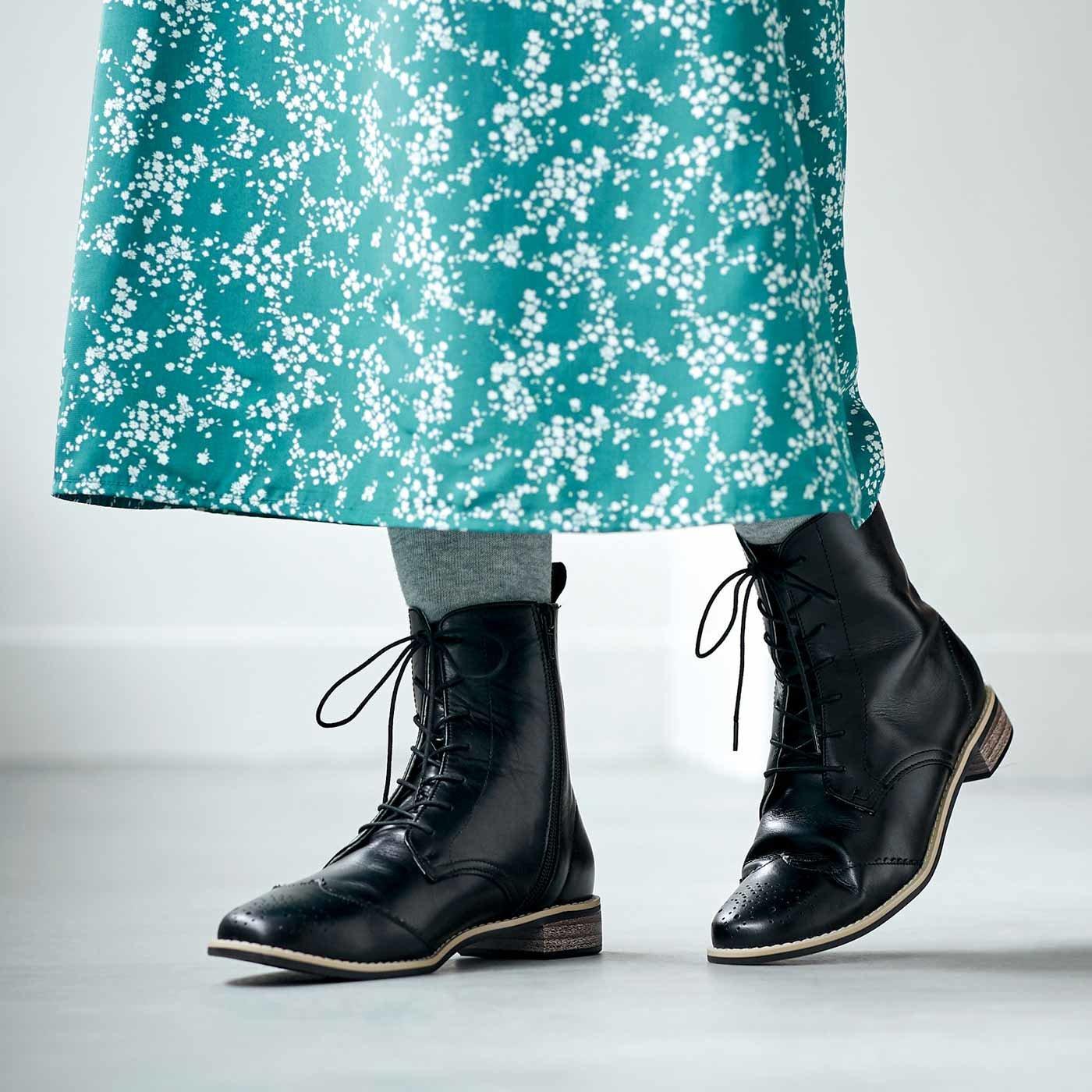 長田靴職人が叶(かな)えた 理想の本革ウィングチップブーツ〈クラシックブラック〉[本革 ブーツ:日本製]