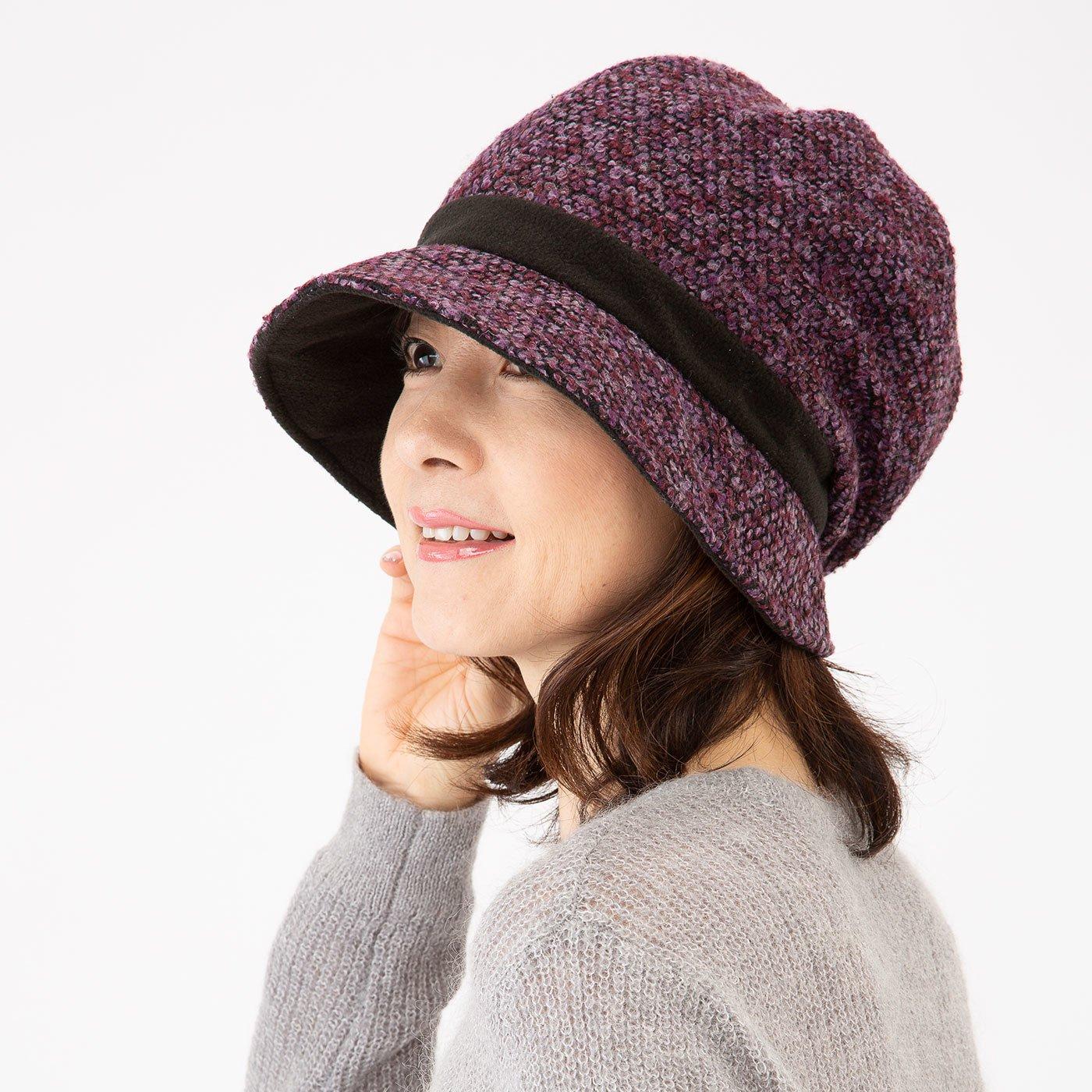 あったか小顔クロッシェ帽子