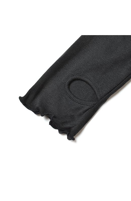 親指ホールが付いた長めの袖。メロウ仕上げでかわいさもしかっり!