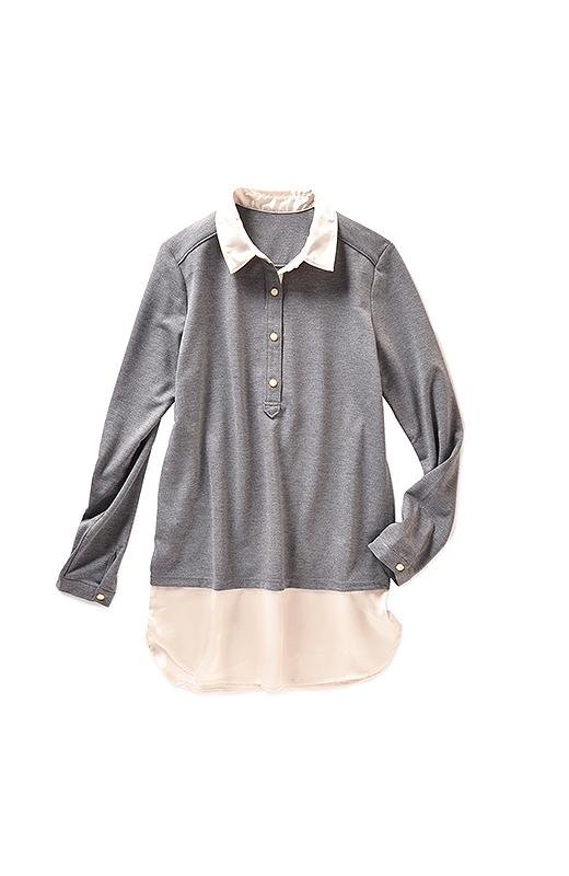 伸びやかなカットソーとサテンシャツの印象の違う素材も、ばっちり重ね着風。キラッとボタンが華やか。