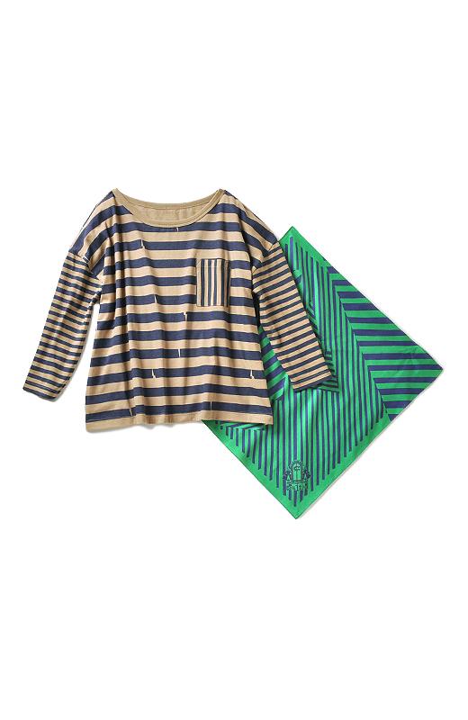 Tシャツは手首をすっきり見せる七分袖。しましまをコラージュしたバンダナと一緒にお届けします。