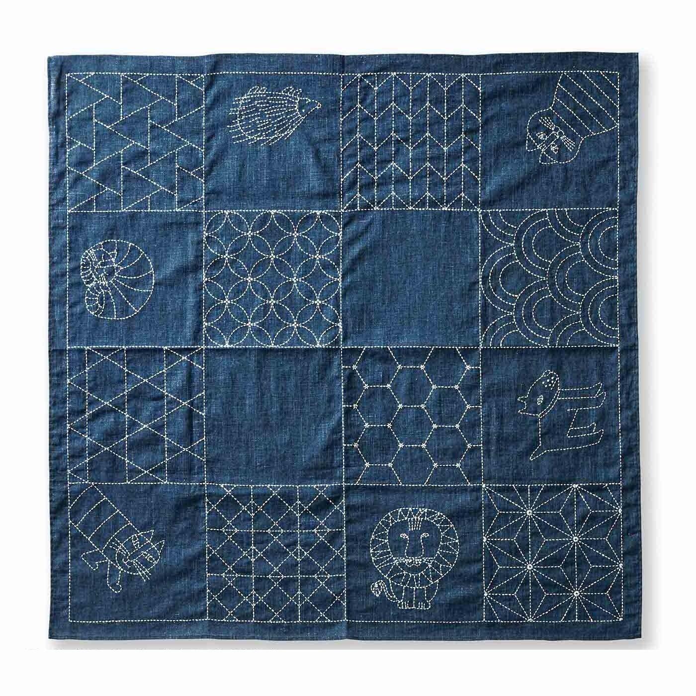 クチュリエ×リサ・ラーソン 縫製済みがうれしい ちくちく刺し子の大判風呂敷(紺)