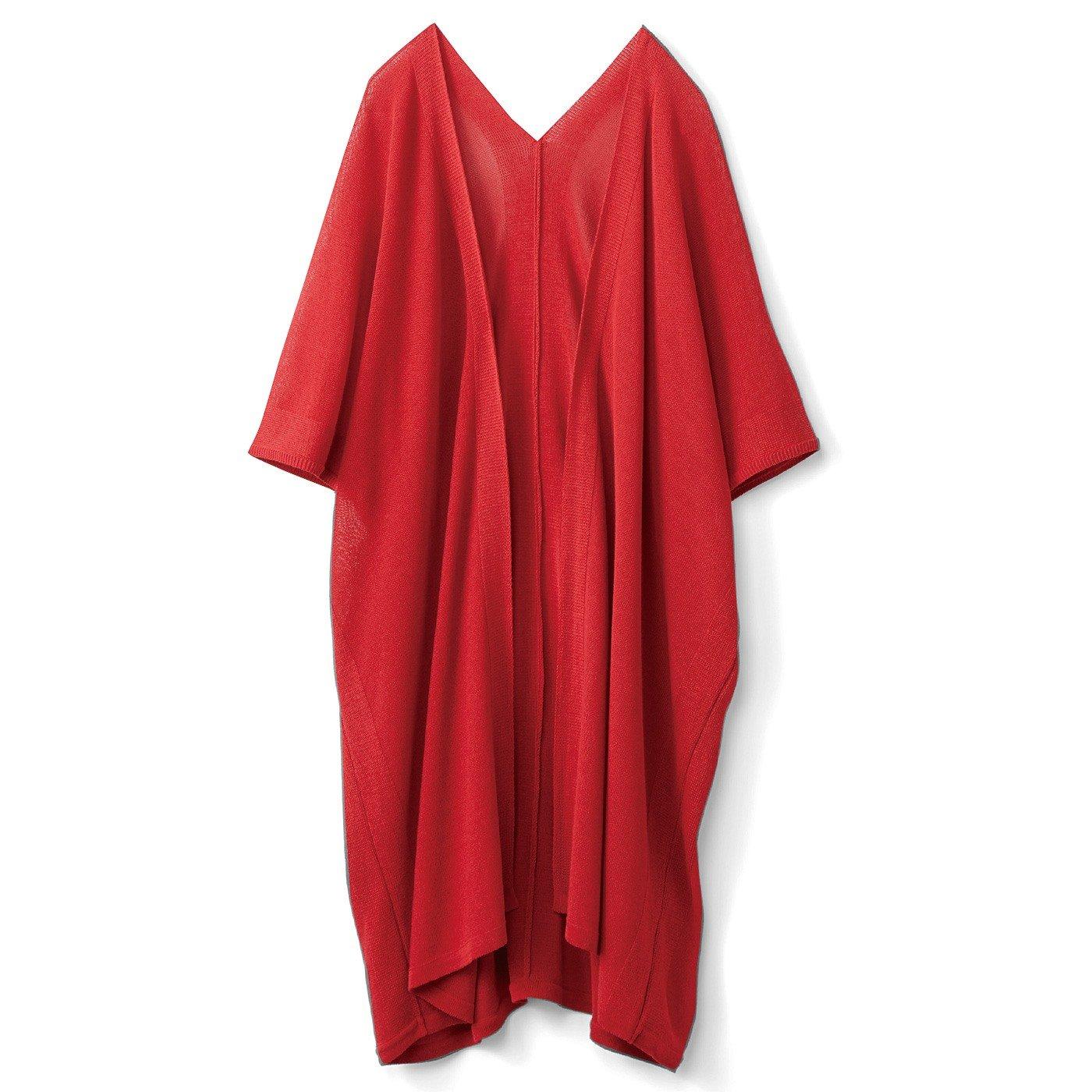 HIROMI YOSHIDA. すっきり袖のニットロング丈カーディガン〈レッド〉