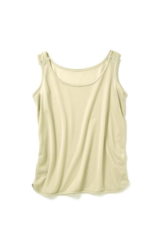 両肩部分にスナップボタンが付いているので、服を着たまま取り外せます。わき汗を吸い取るパッド付き。タンクトップの外側に出しても内側に入れたままでも使えます。