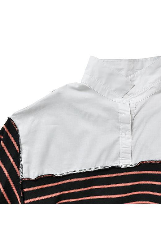 仕組みが分かりやすいようにひっくり返してみました。着るときはシャツのボタンを少し開けてすぽっと着るよ。